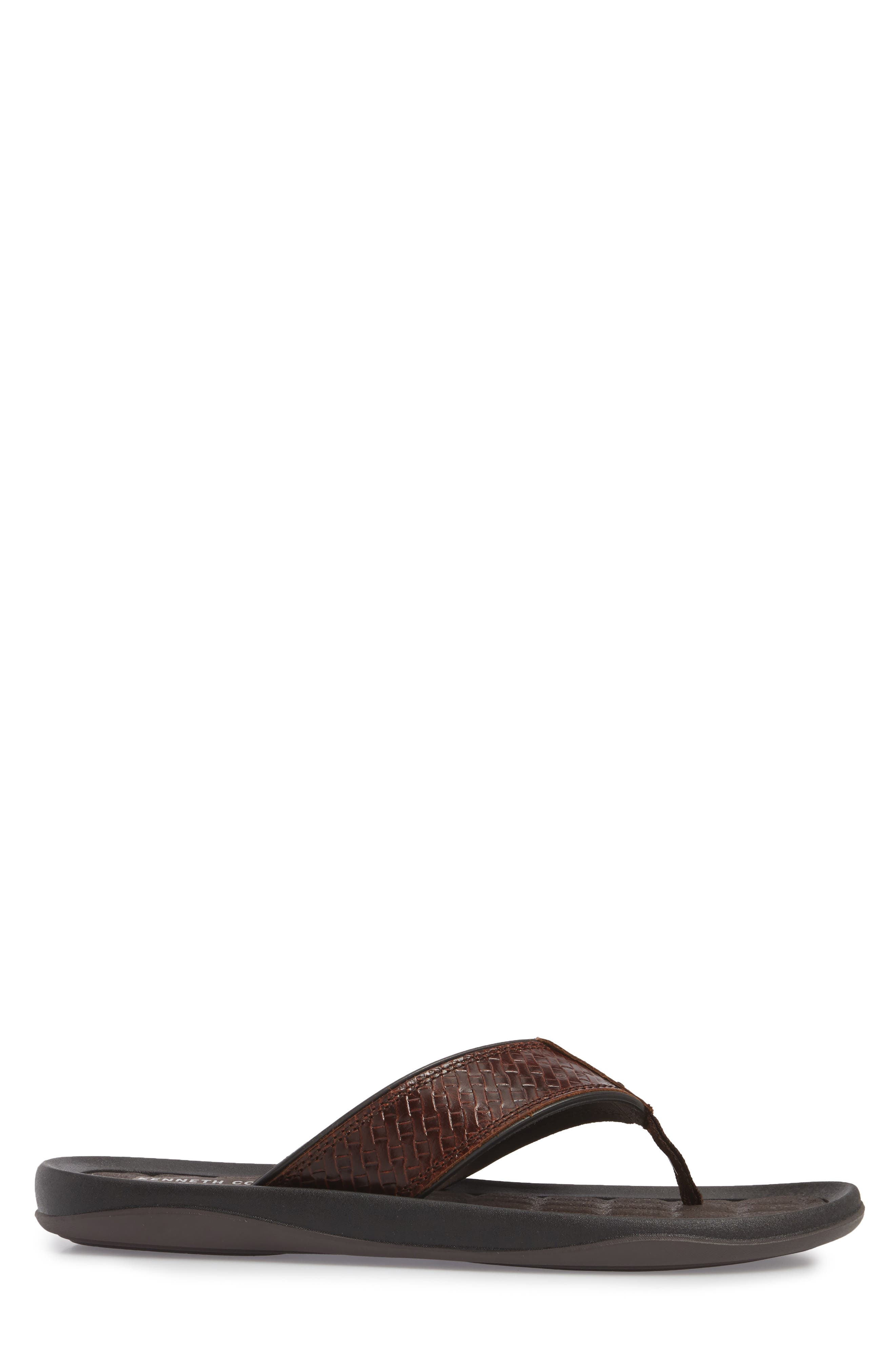 Izzo Embossed Flip Flop,                             Alternate thumbnail 3, color,                             Brown Leather
