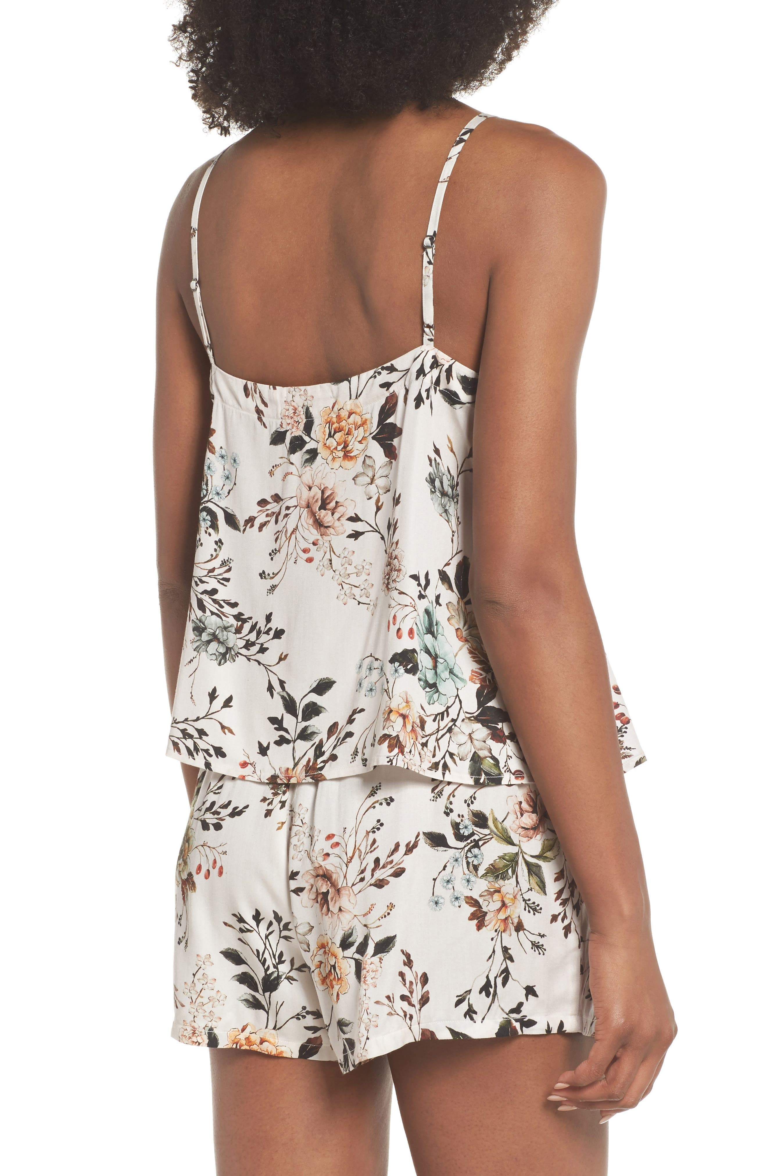 Floral Poppy Short & Camisole Pajamas,                             Alternate thumbnail 2, color,                             Cream Dusk