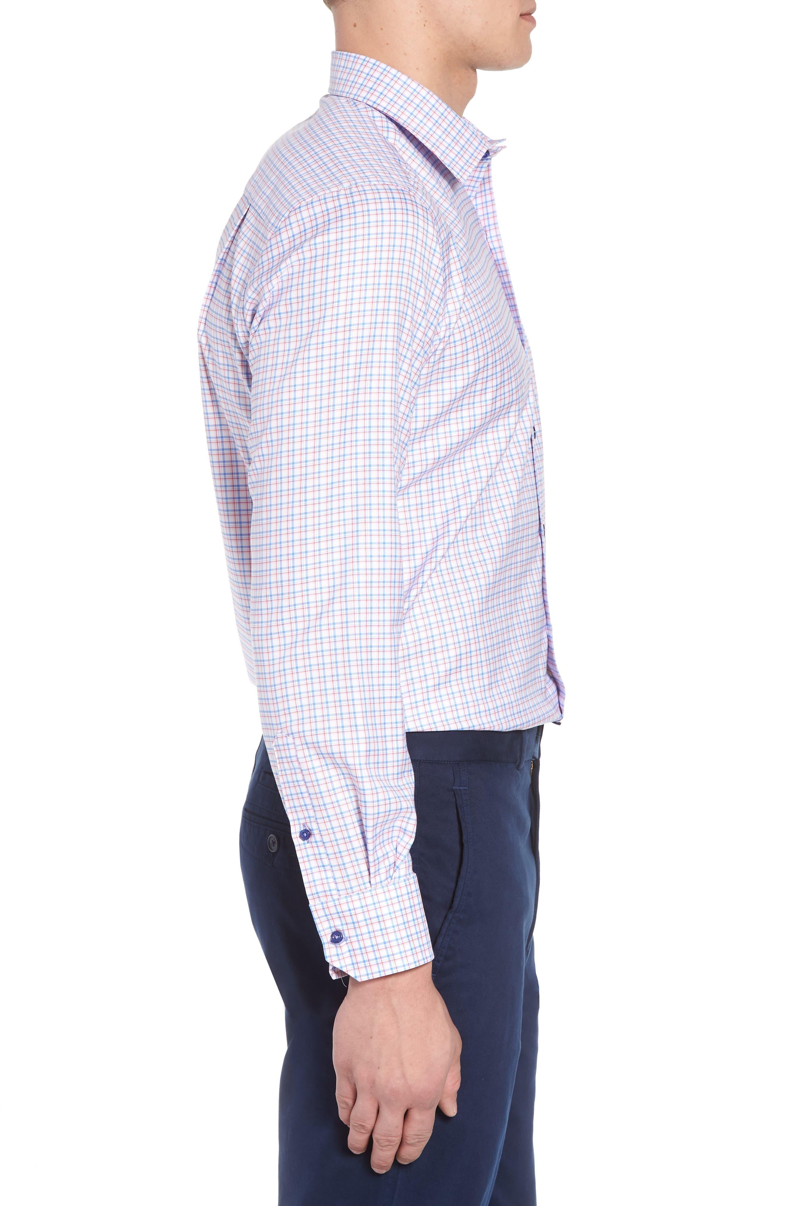 Regular Fit Check Sport Shirt,                             Alternate thumbnail 3, color,                             Blue/ Pink