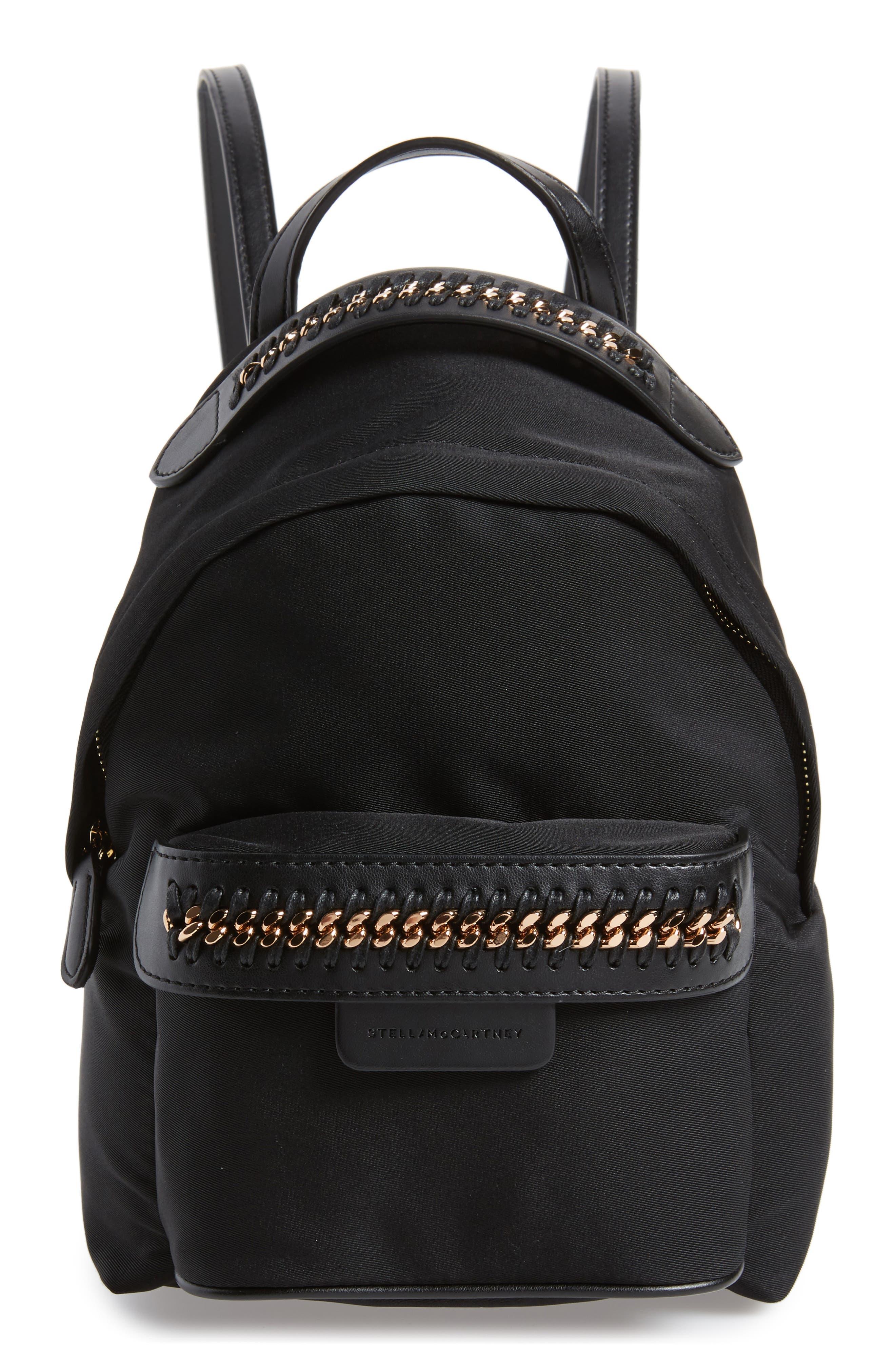 Mini Falabella Nylon Backpack,                             Main thumbnail 1, color,                             Black