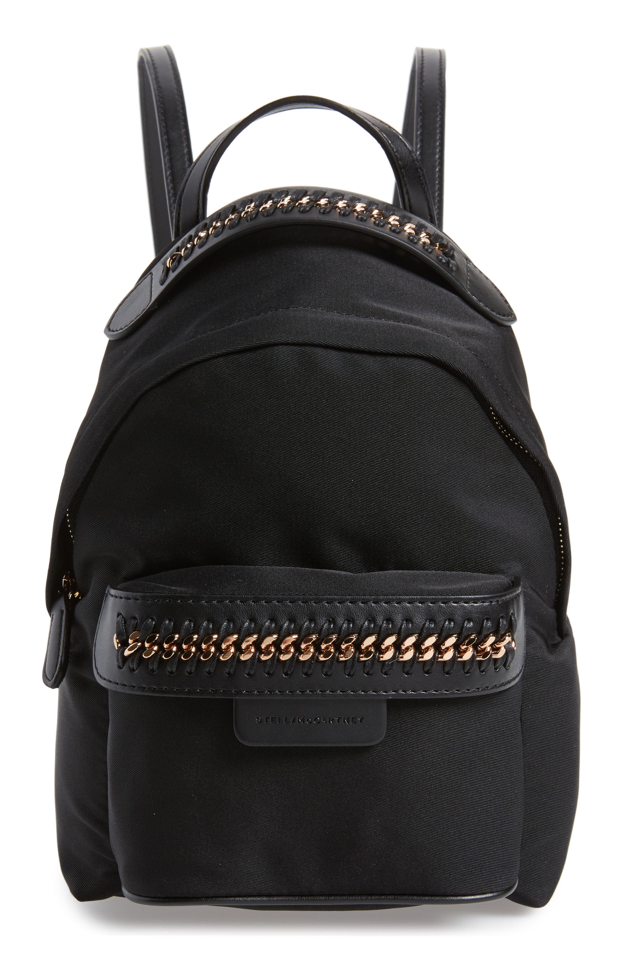 Mini Falabella Nylon Backpack,                         Main,                         color, Black