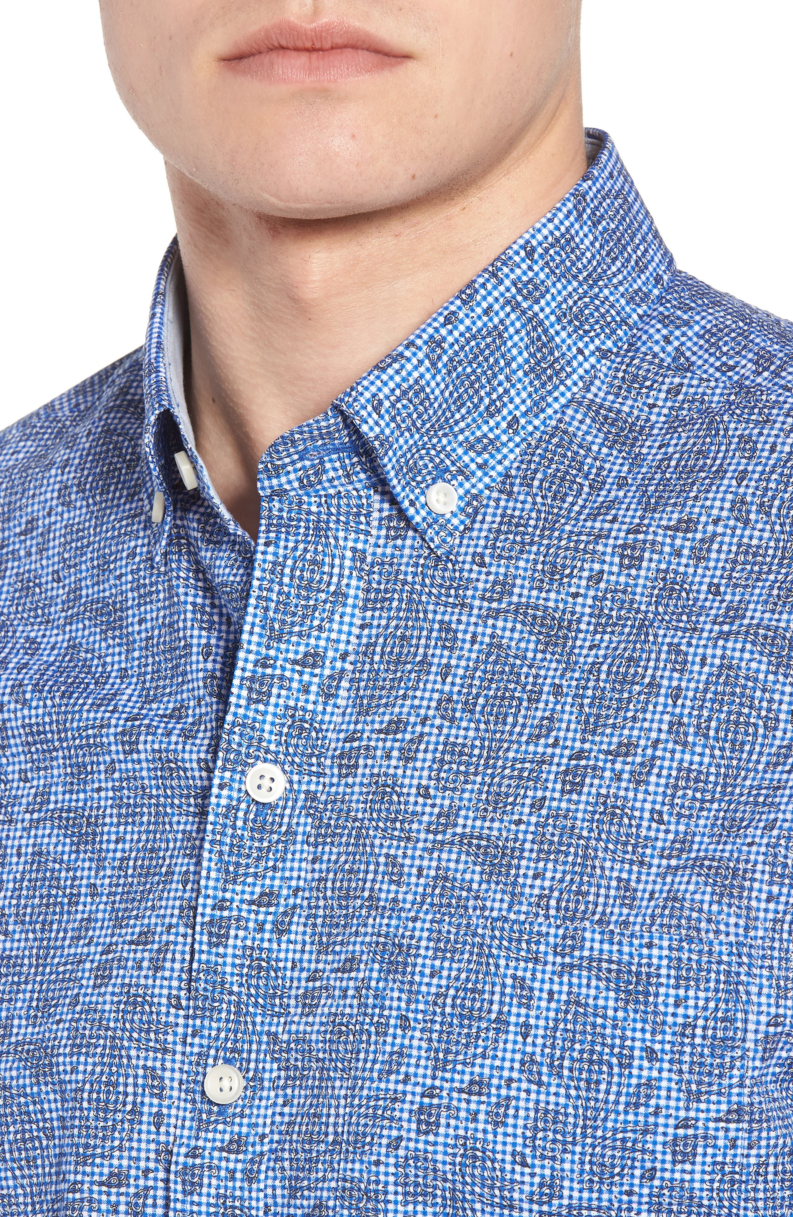 Alternate Image 4  - Cutter & Buck Jameson Seersucker Print Sport Shirt