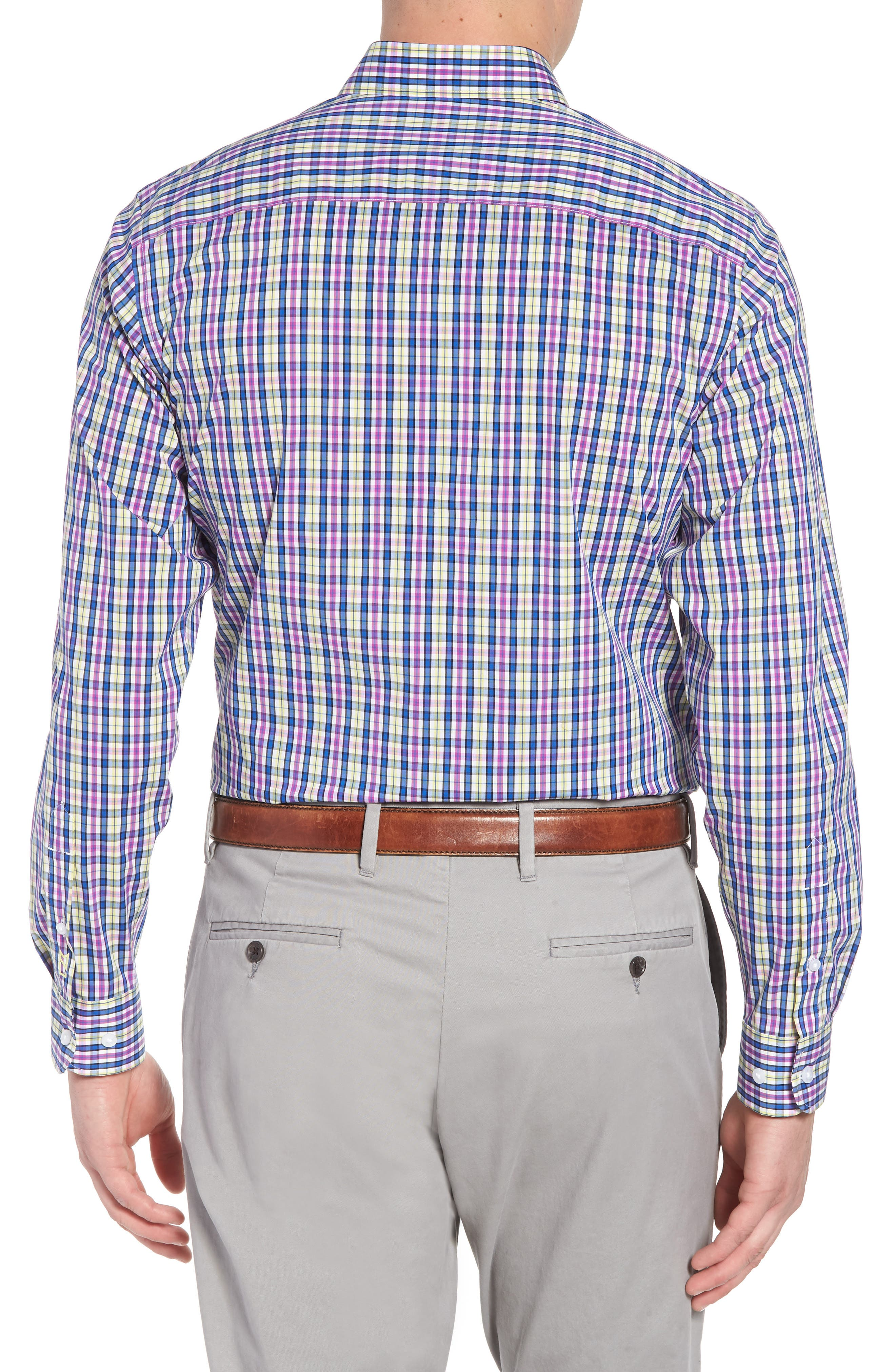 Anthony Plaid Performance Sport Shirt,                             Alternate thumbnail 2, color,                             Limelight