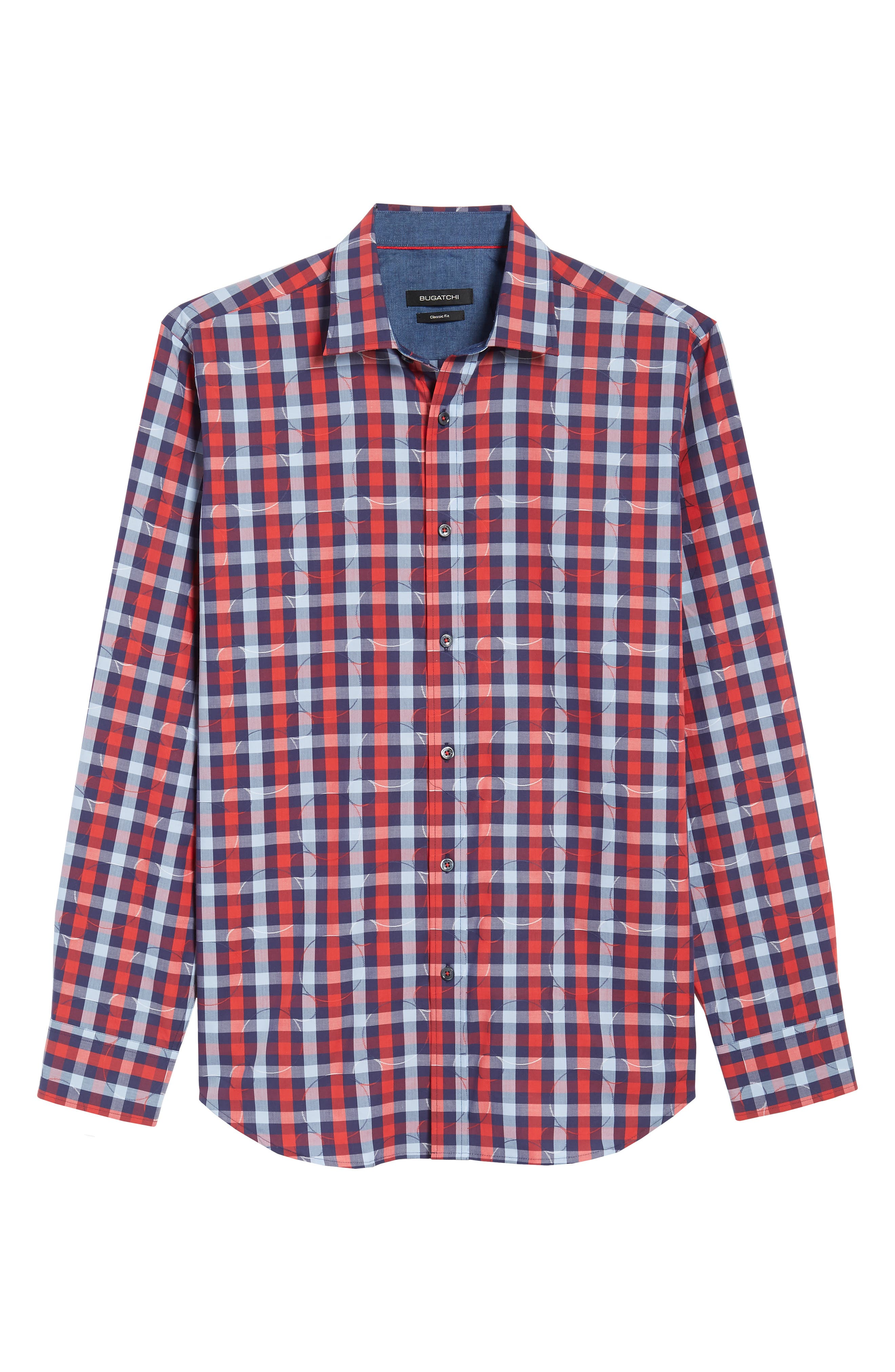 Classic Fit Woven Sport Shirt,                             Alternate thumbnail 6, color,                             Ruby