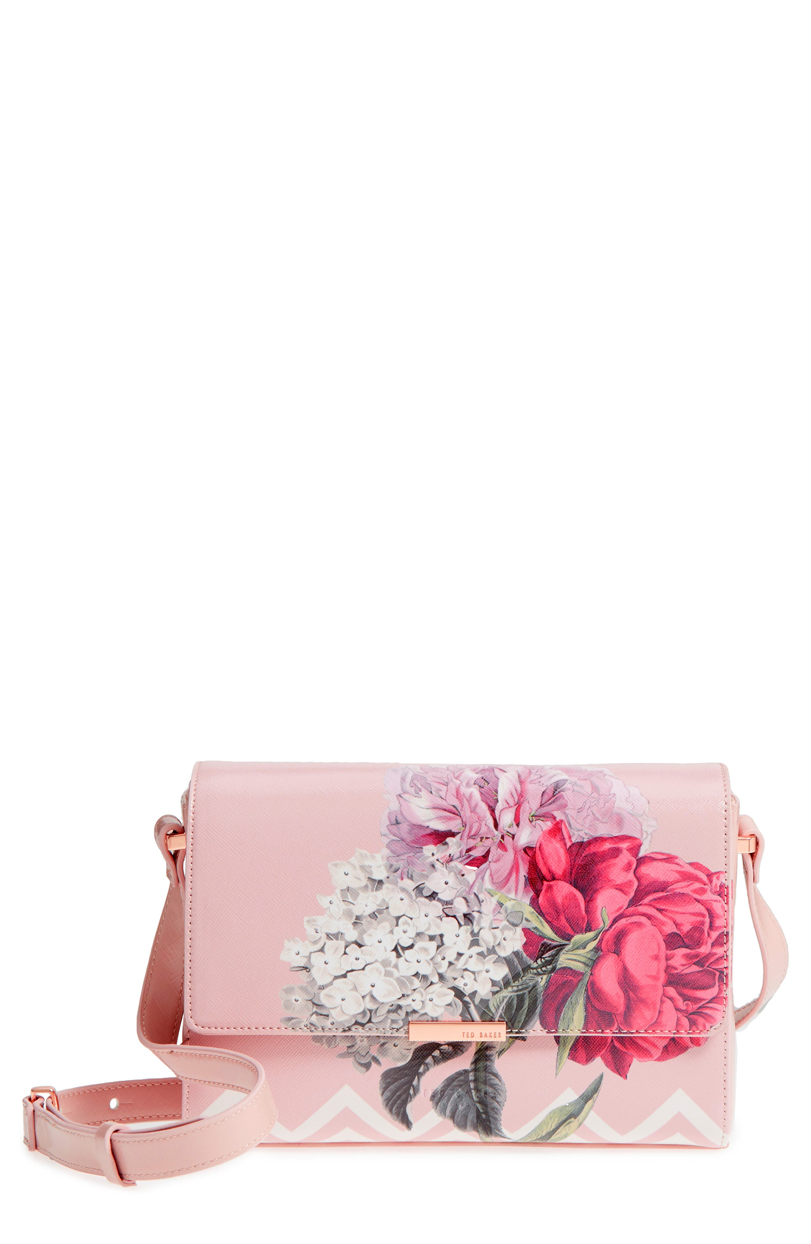 Teda Palace Gardens Faux Leather Crossbody Bag,                             Main thumbnail 1, color,                             Dusky Pink