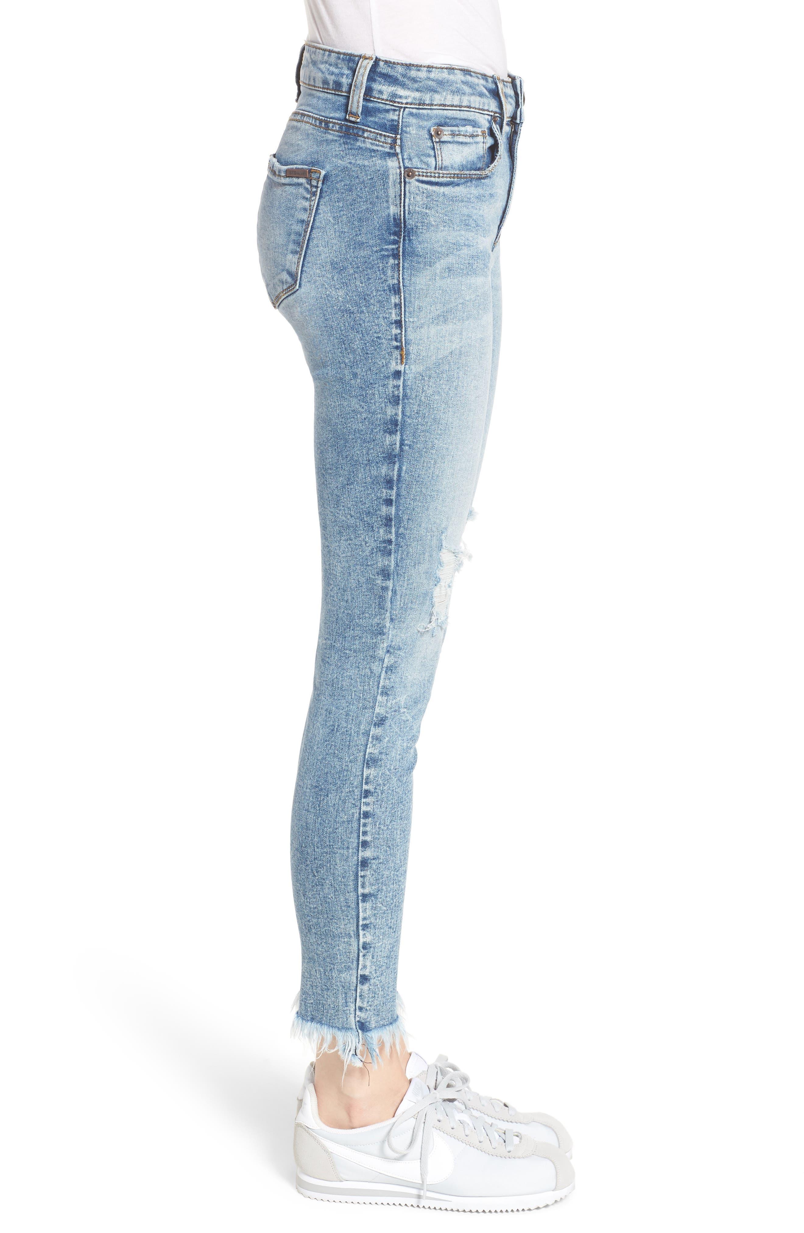 Emma Fray Hem Ankle Skinny Jeans,                             Alternate thumbnail 3, color,                             Durkee