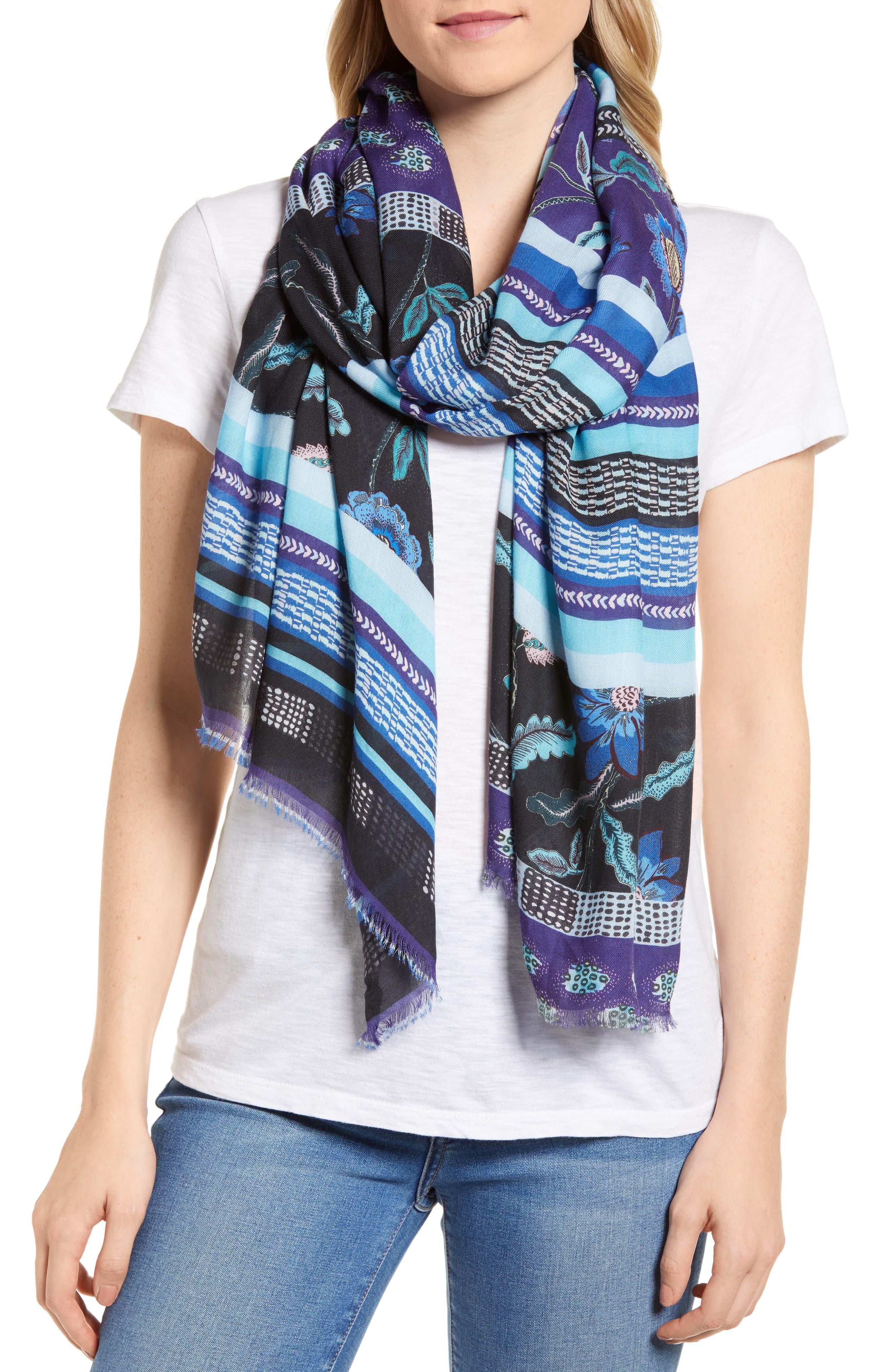 Rebecca Mixed Floral Stripe Scarf,                         Main,                         color, Black
