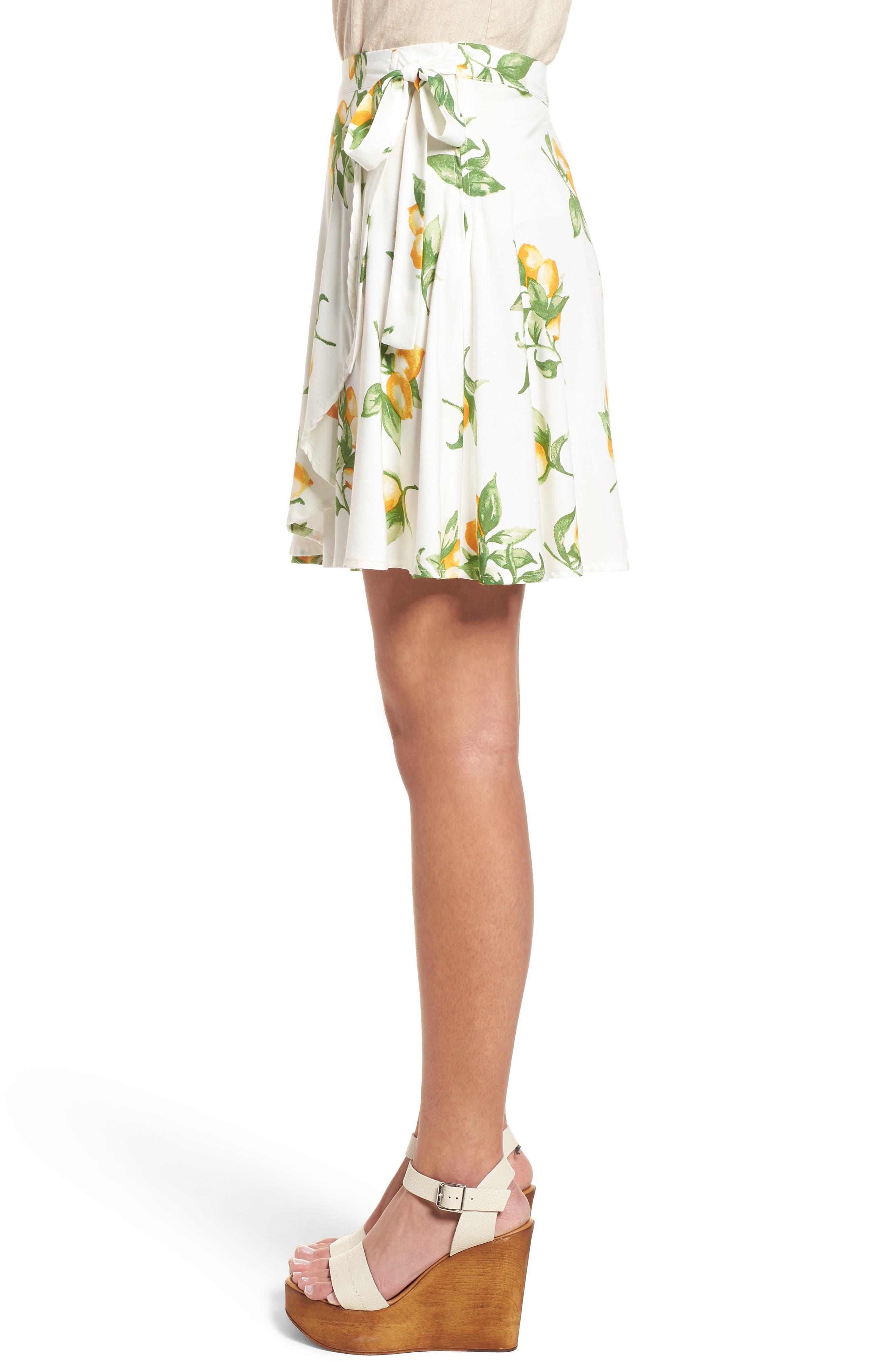 Fruit Print Side Tie Skirt,                             Alternate thumbnail 3, color,                             Ivory Lemon Print