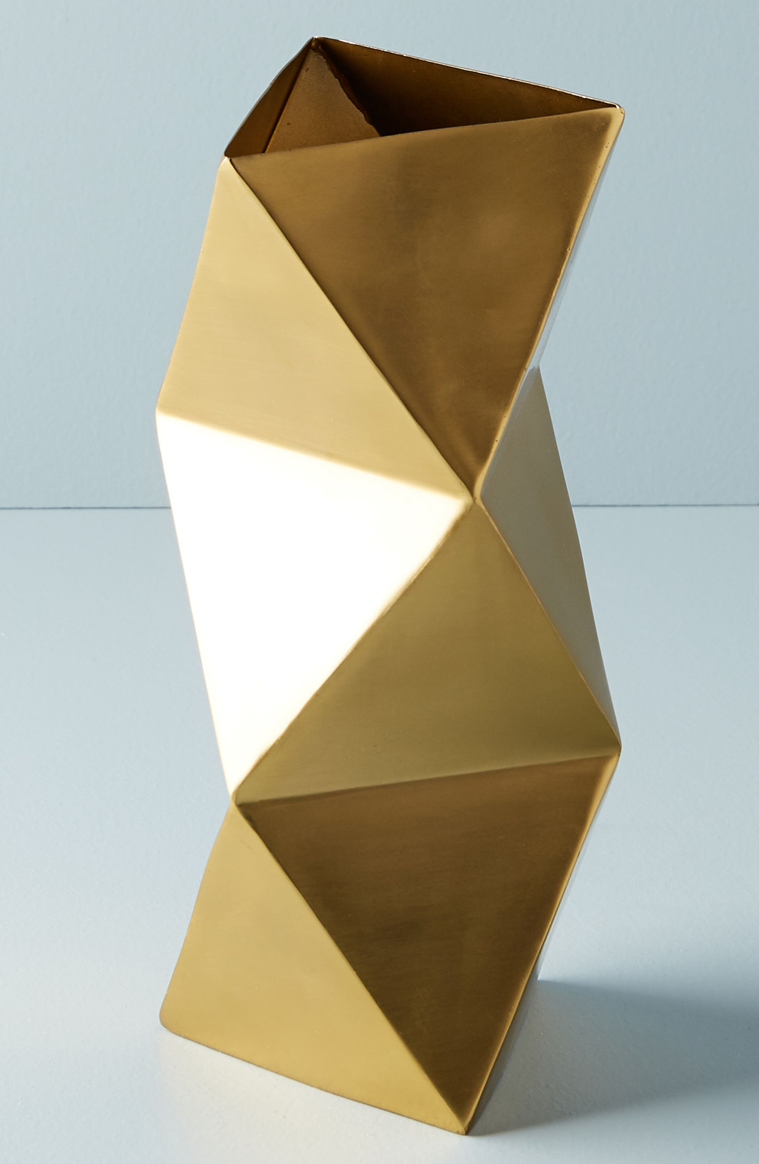 Faceted Triangle Metal Vase,                             Main thumbnail 1, color,                             Gold