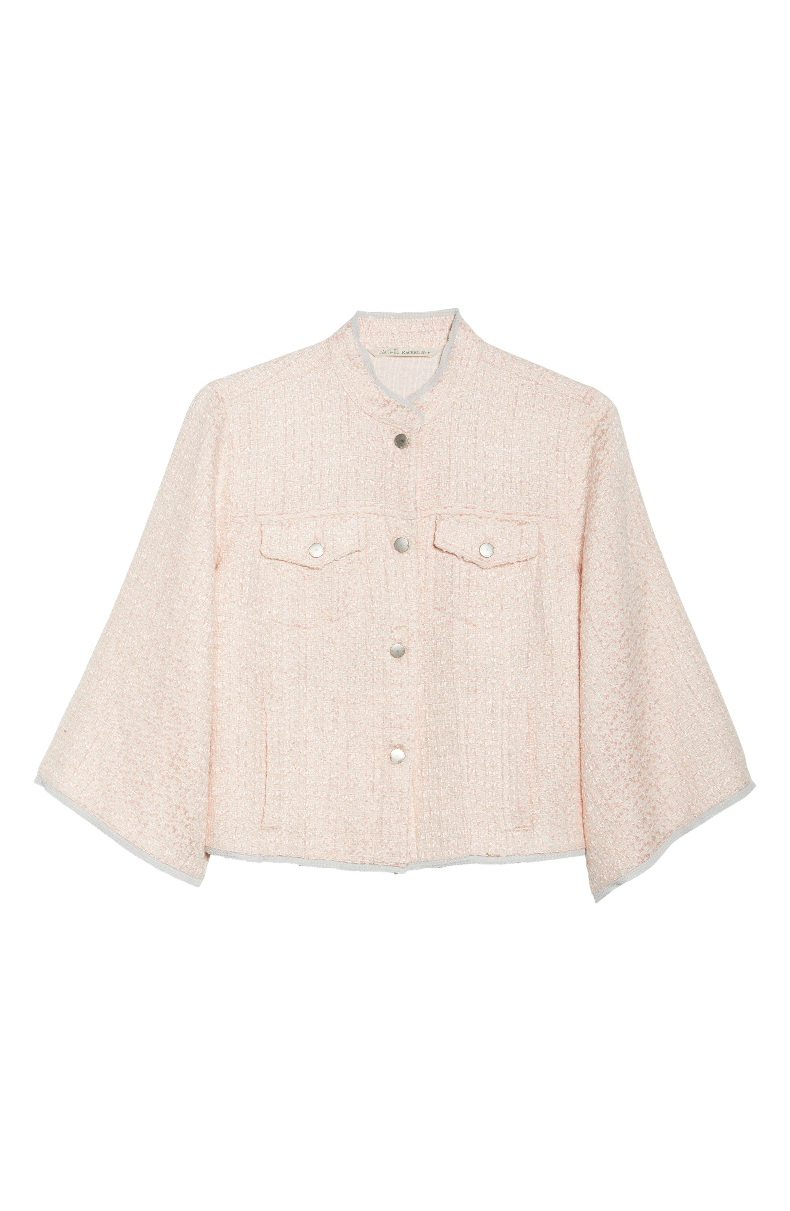 Bell Sleeve Crop Tweed Jacket,                             Alternate thumbnail 7, color,                             Ice Pink Combo