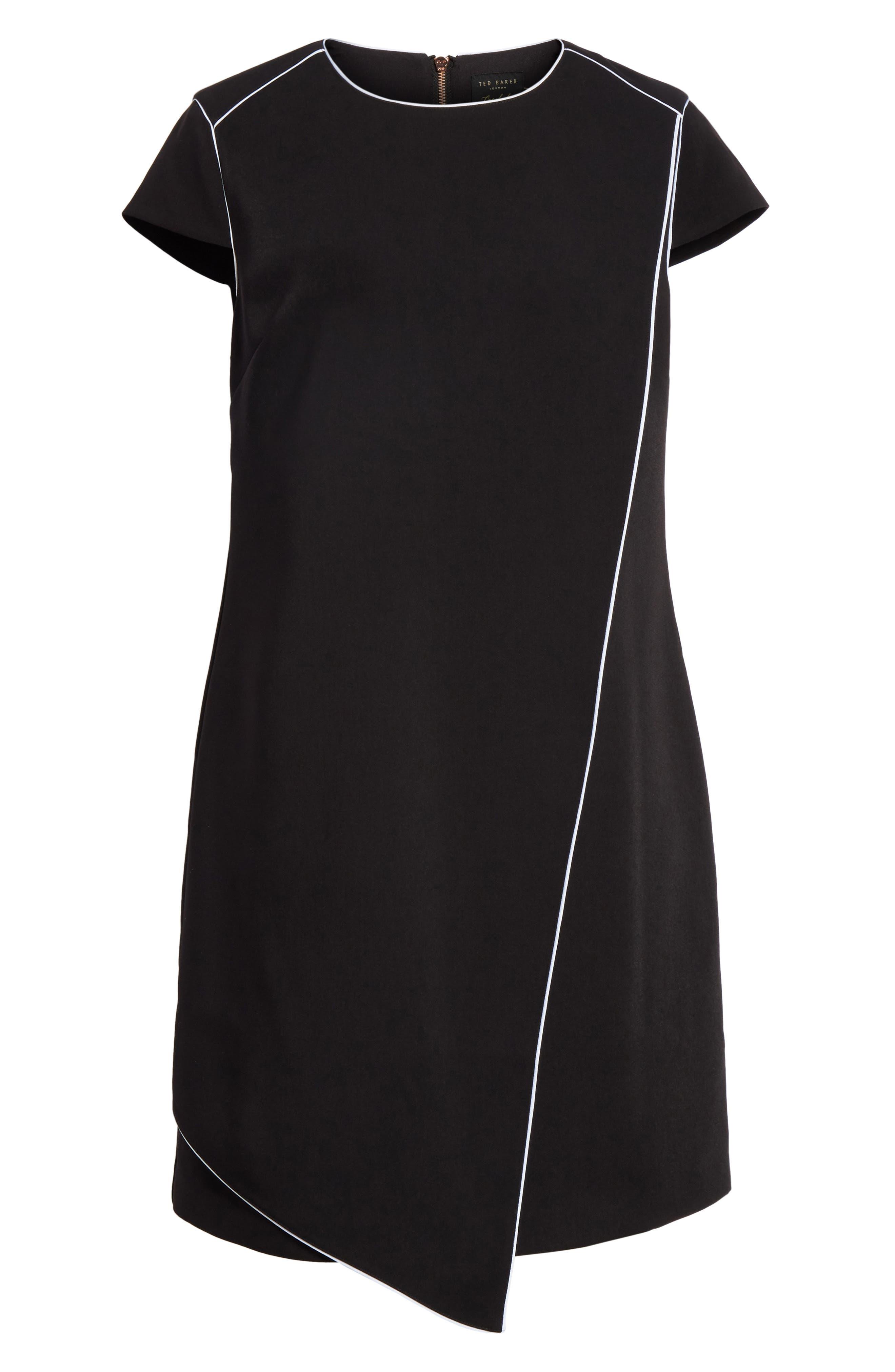 Artiro Asymmetrical Shift Dress,                             Alternate thumbnail 6, color,                             Black