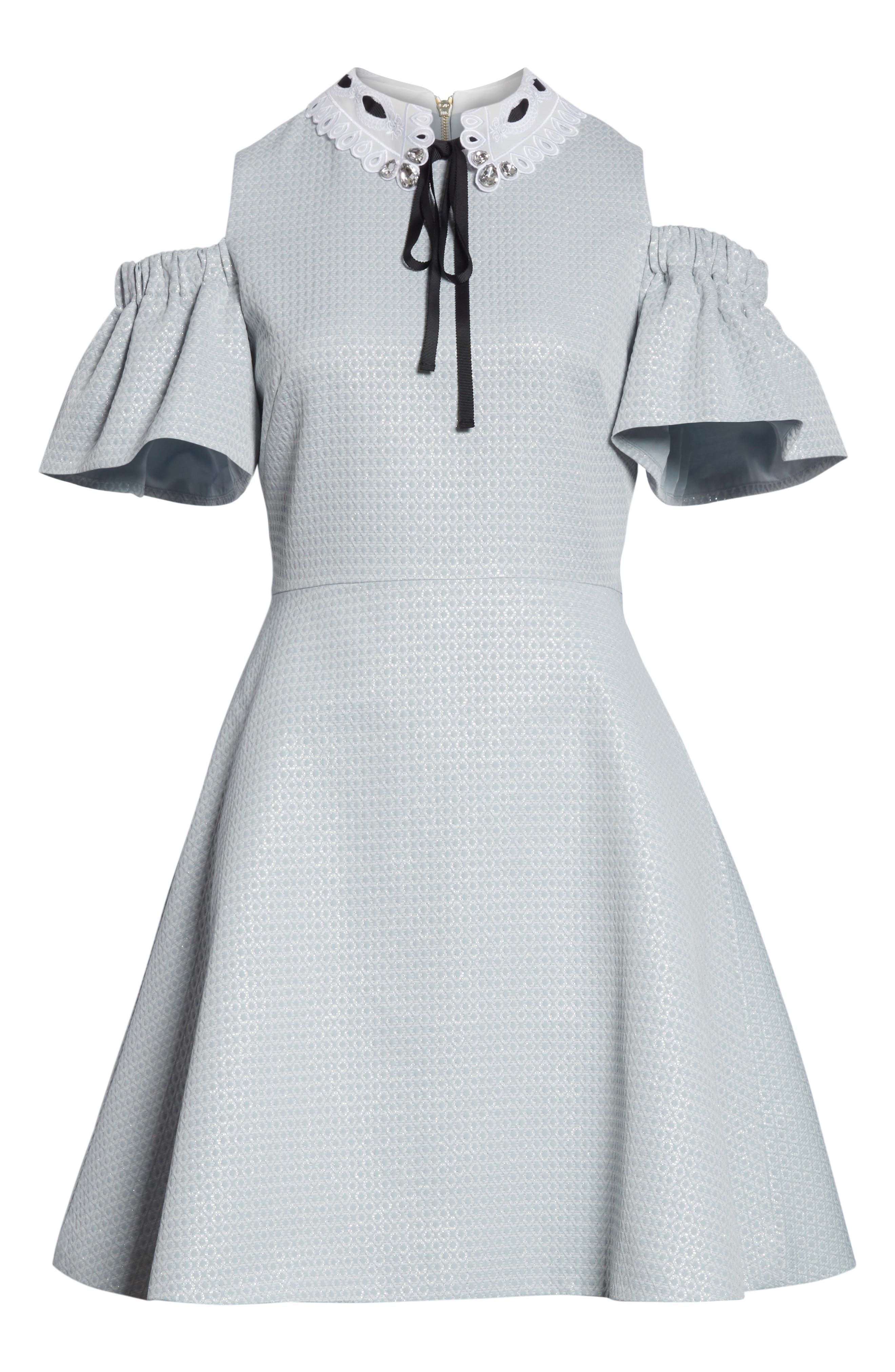 Cold Shoulder Skater Dress,                             Alternate thumbnail 6, color,                             Baby Blue