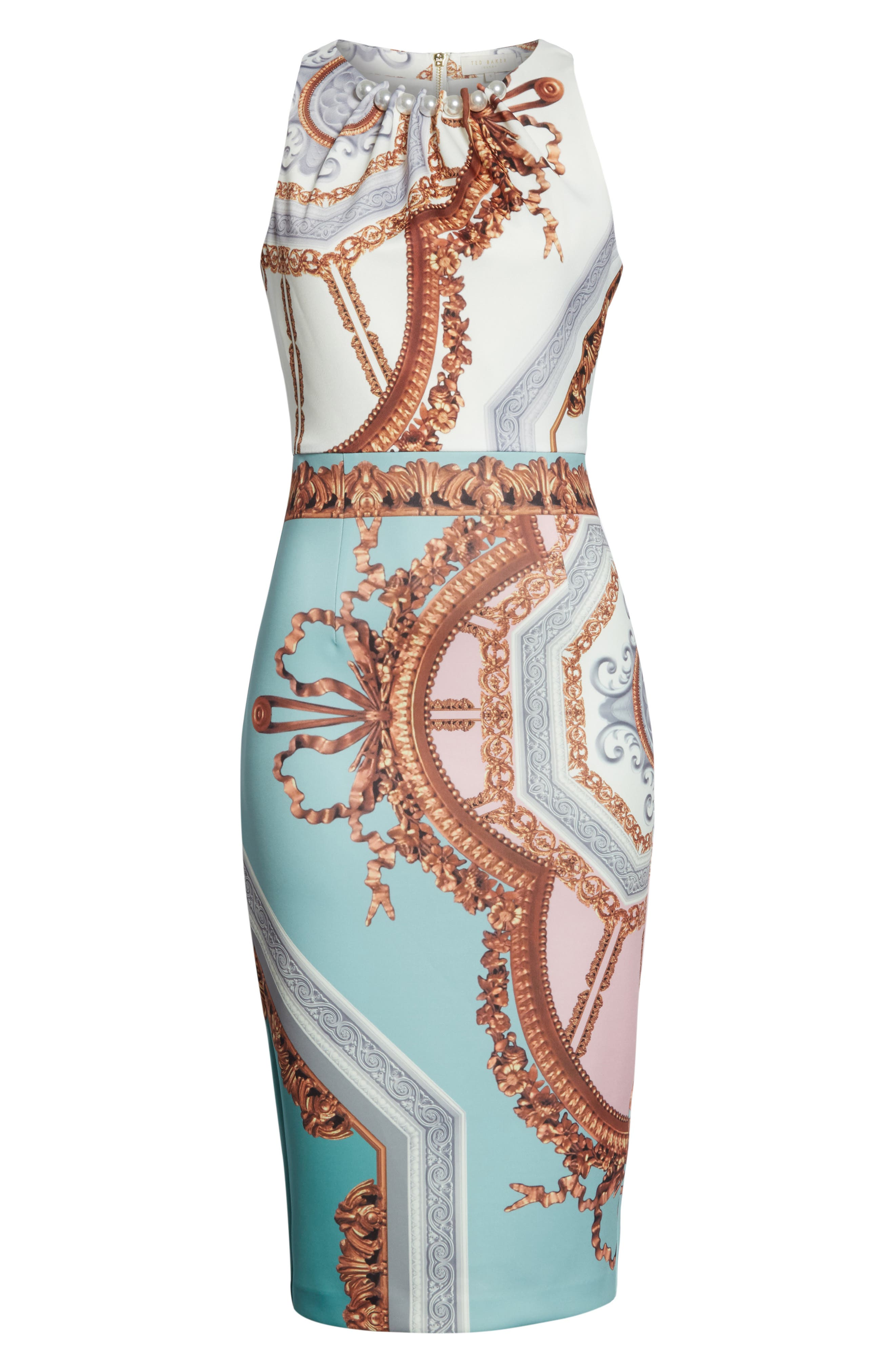 Orlla Embellished Midi Dress,                             Alternate thumbnail 6, color,                             Teal