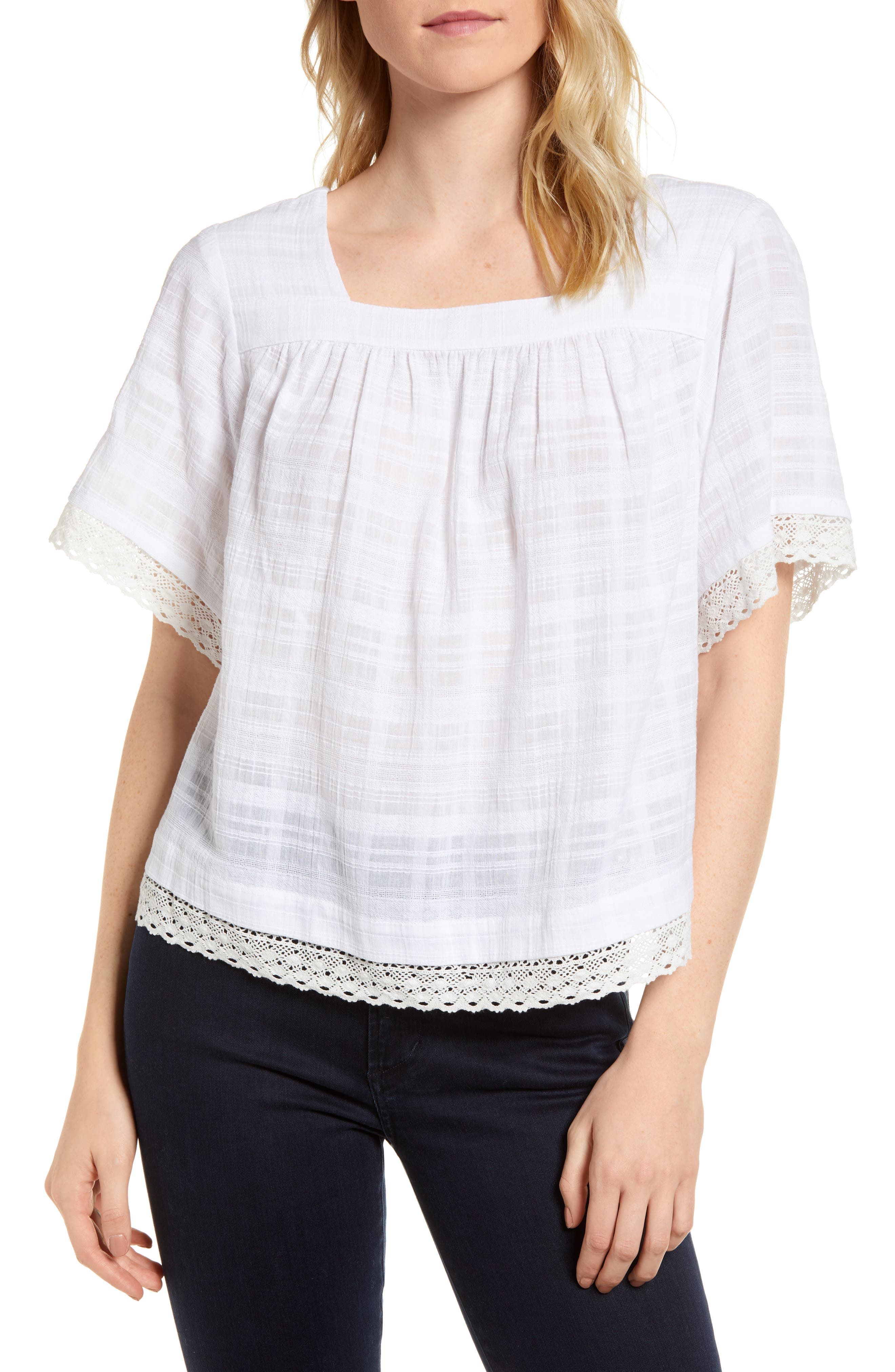 Square Neck Lace Trim Blouse,                         Main,                         color, Ultra White