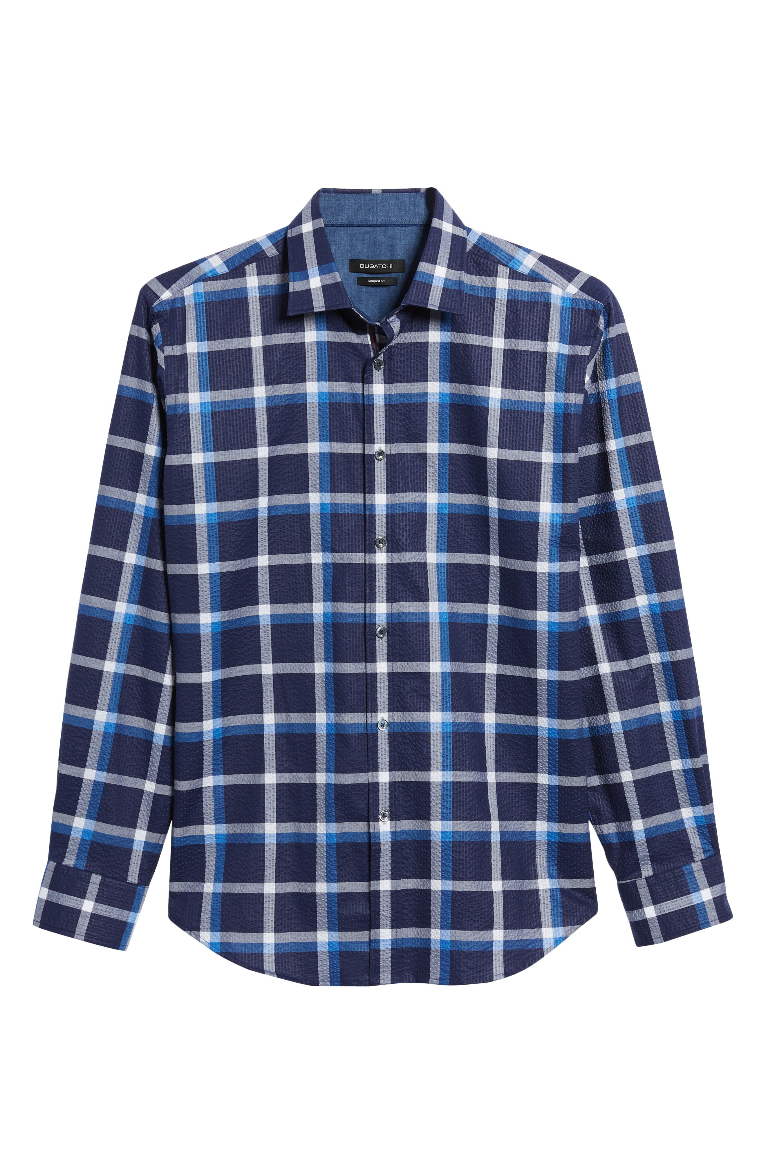 Shaped Fit Windowpane Plaid Sport Shirt,                             Alternate thumbnail 6, color,                             Navy