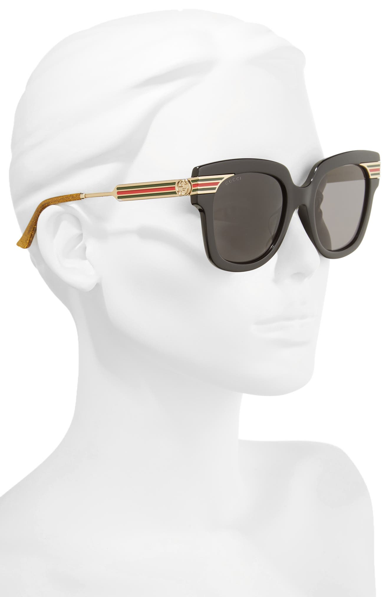 51mm Cat Eye Sunglasses,                             Alternate thumbnail 2, color,                             Black/ Gold