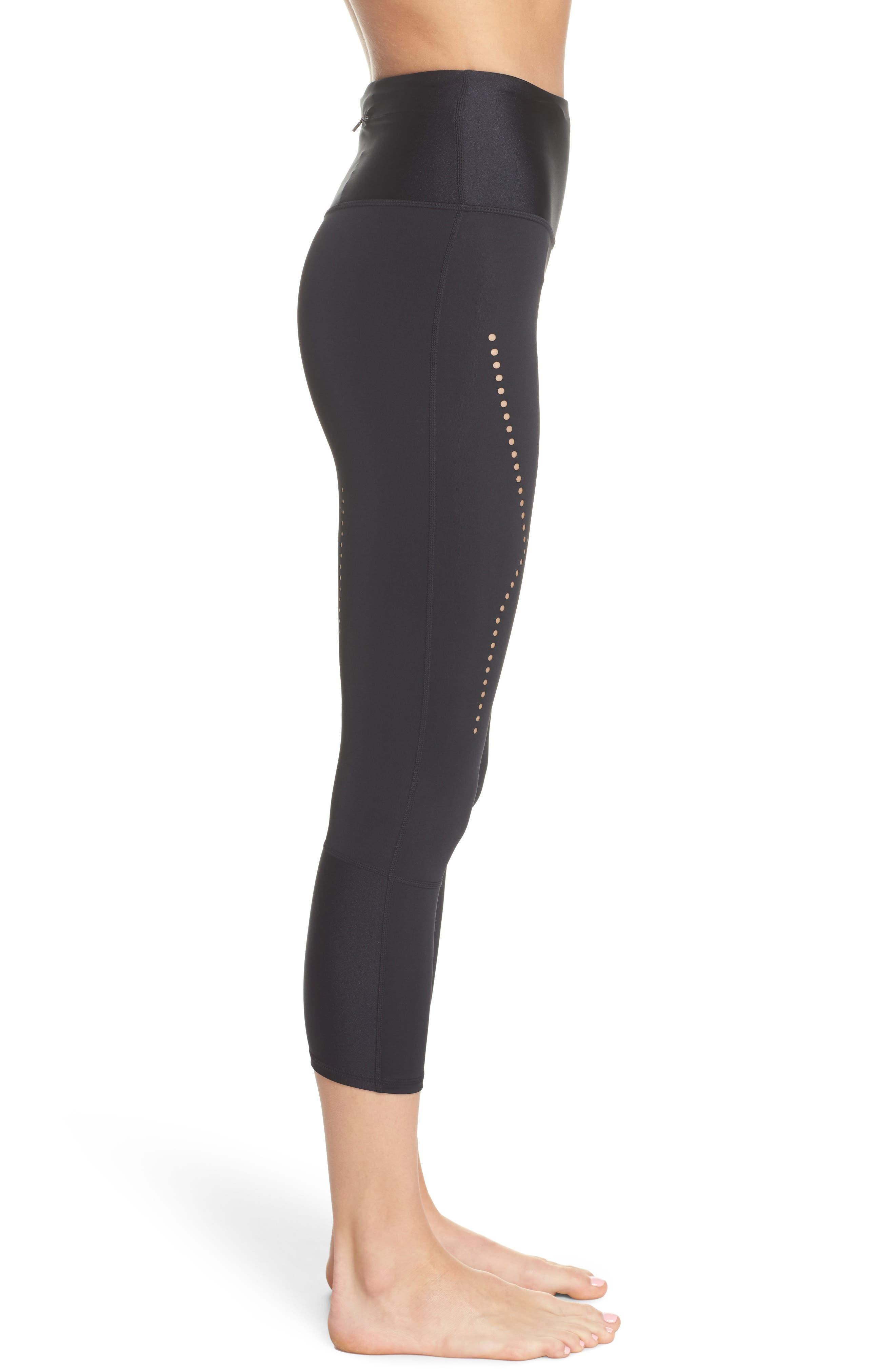 Starry Eyed High-Waist Crop Leggings,                             Alternate thumbnail 3, color,                             Black
