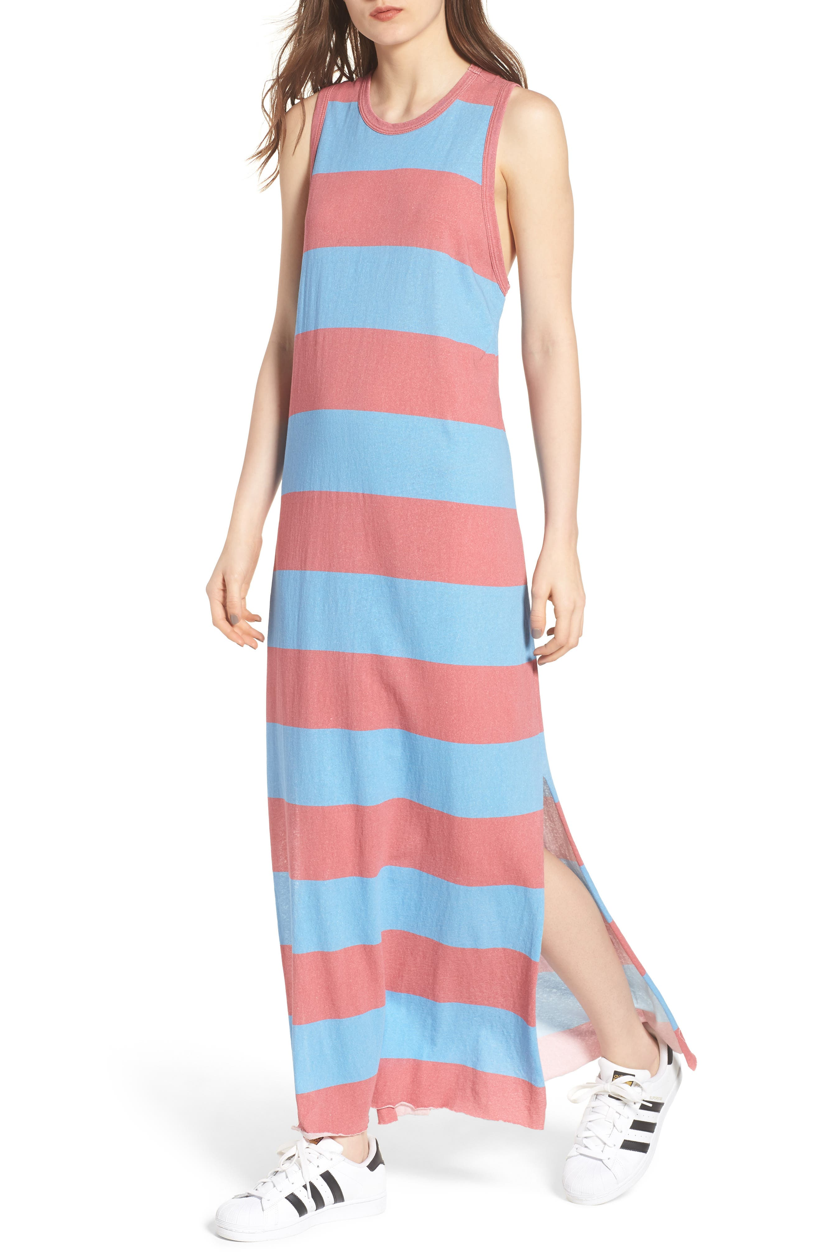 Stripe Muscle Maxi Dress,                         Main,                         color, Red Rugby