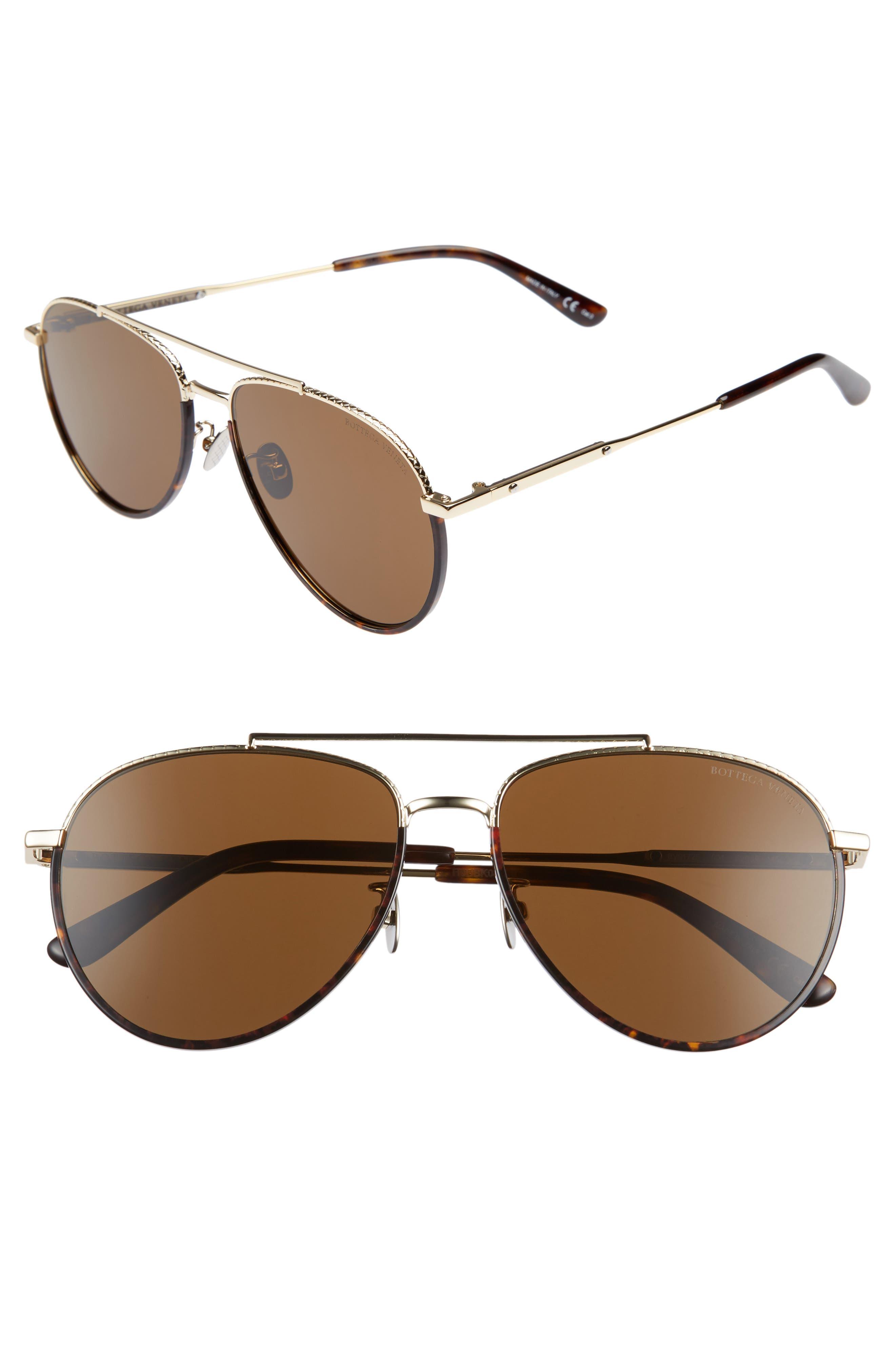 59mm Aviator Sunglasses,                         Main,                         color, Gold/ Dark Havana