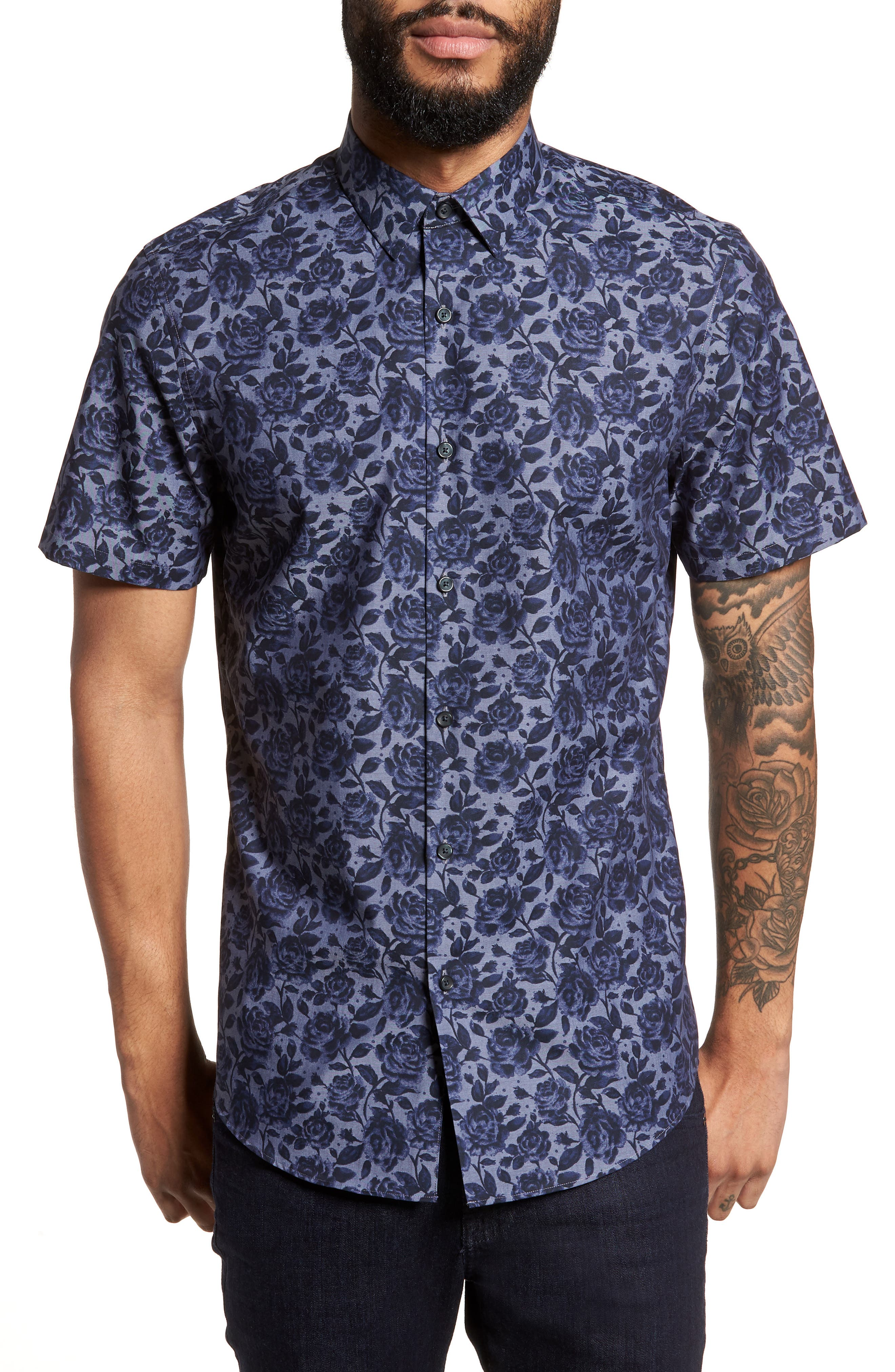 Floral Print Sport Shirt,                             Main thumbnail 1, color,                             Navy Blue Chambray Floral