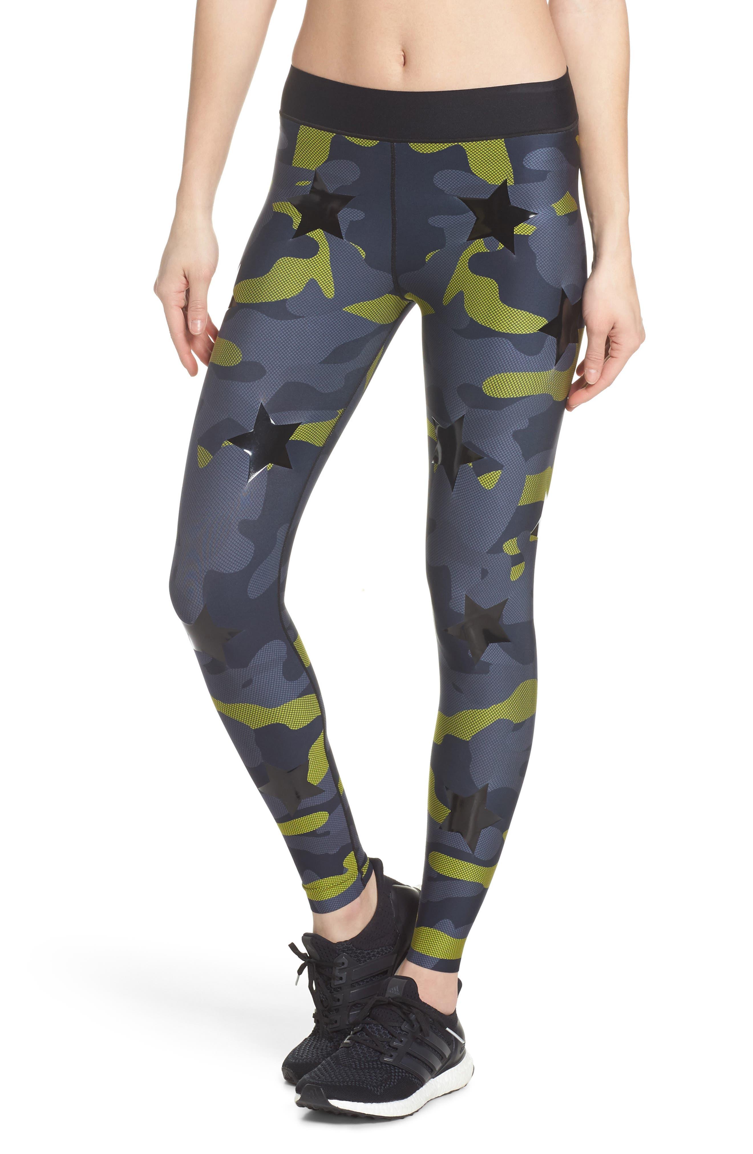 Camo Tech Knockout Leggings,                             Main thumbnail 1, color,                             Chartreuse/ Patent Nero