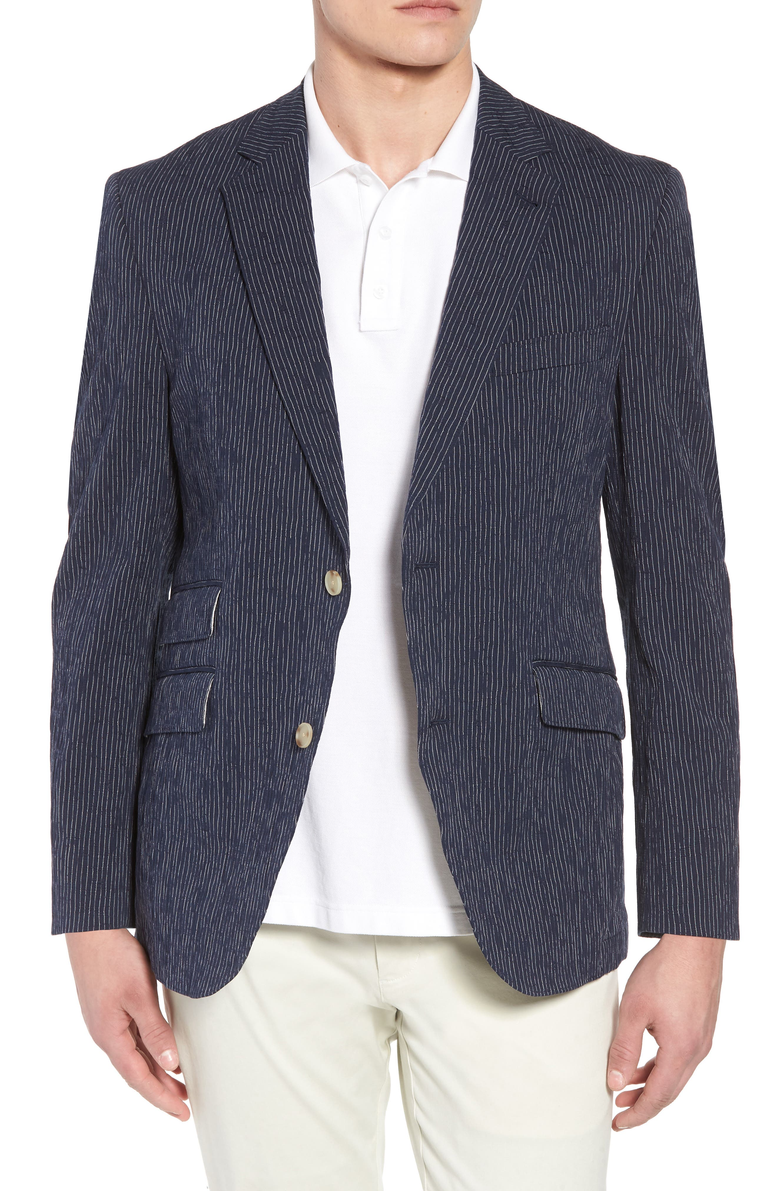 Sting AIM Classic Fit Stretch Stripe Cotton Sport Coat,                         Main,                         color, Navy