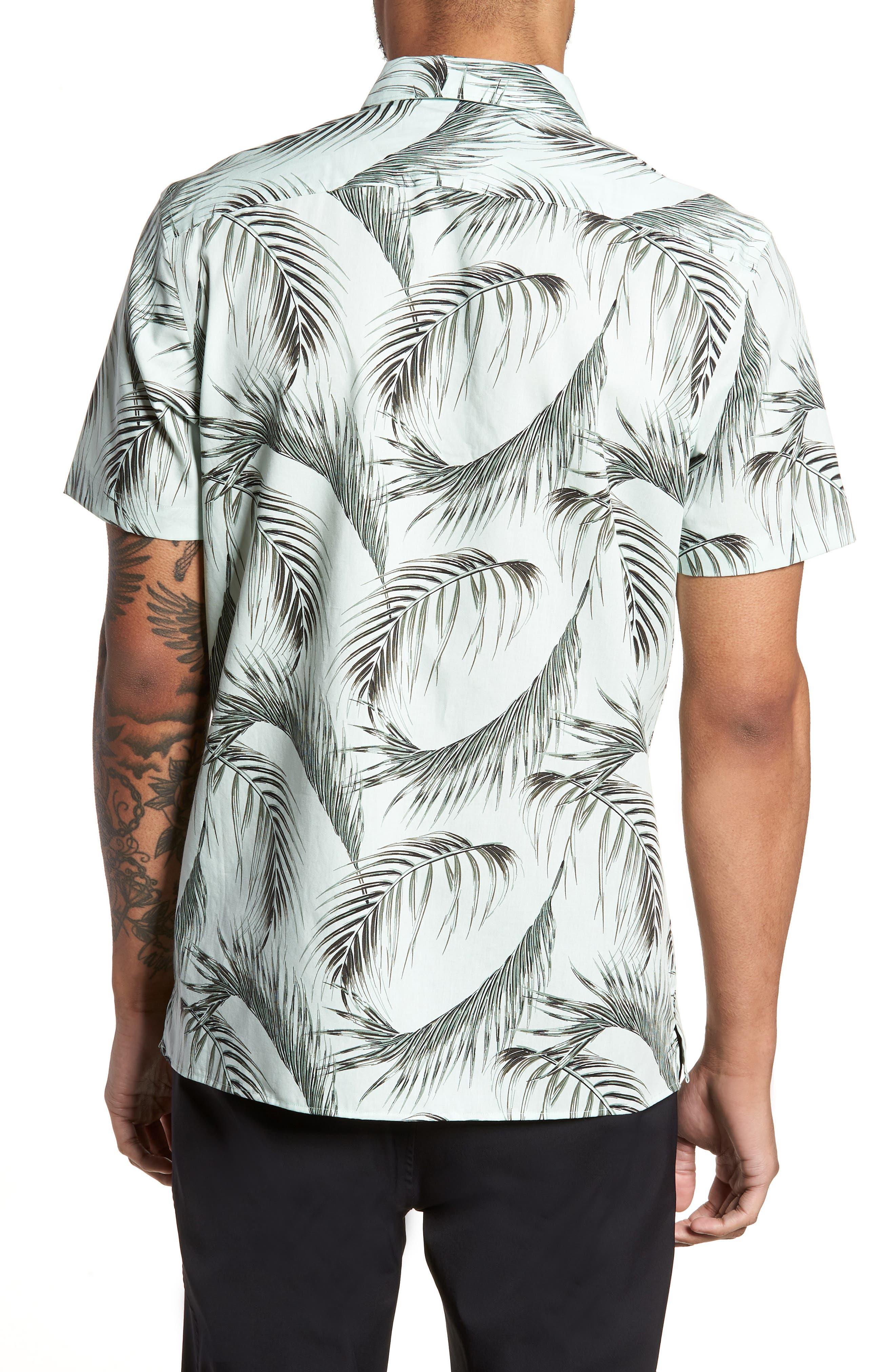 Slim Fit Short Sleeve Print Camp Shirt,                             Alternate thumbnail 3, color,                             Green Screen Palms
