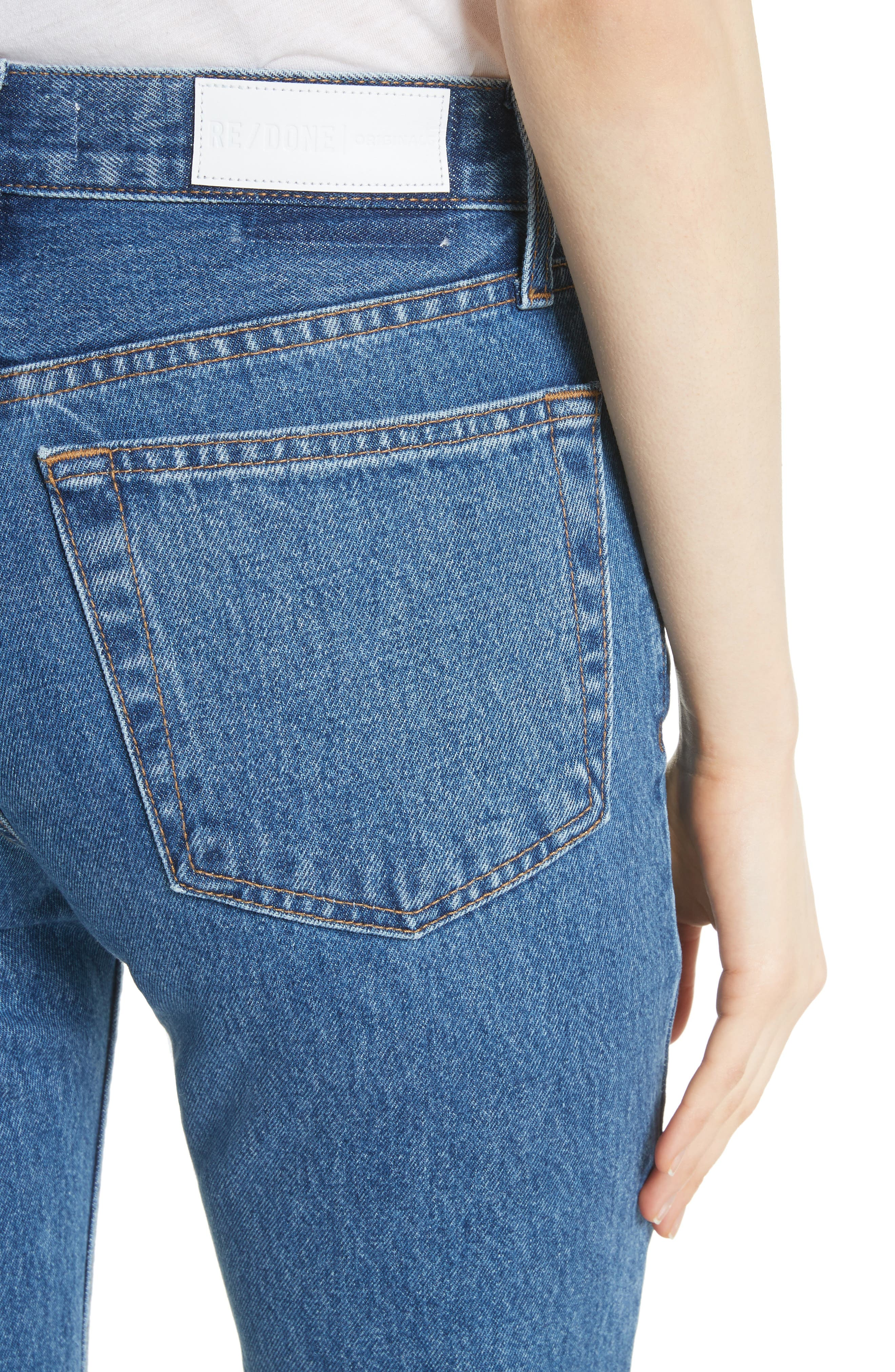 High Waist Stove Pipe Jeans,                             Alternate thumbnail 4, color,                             Med Vain