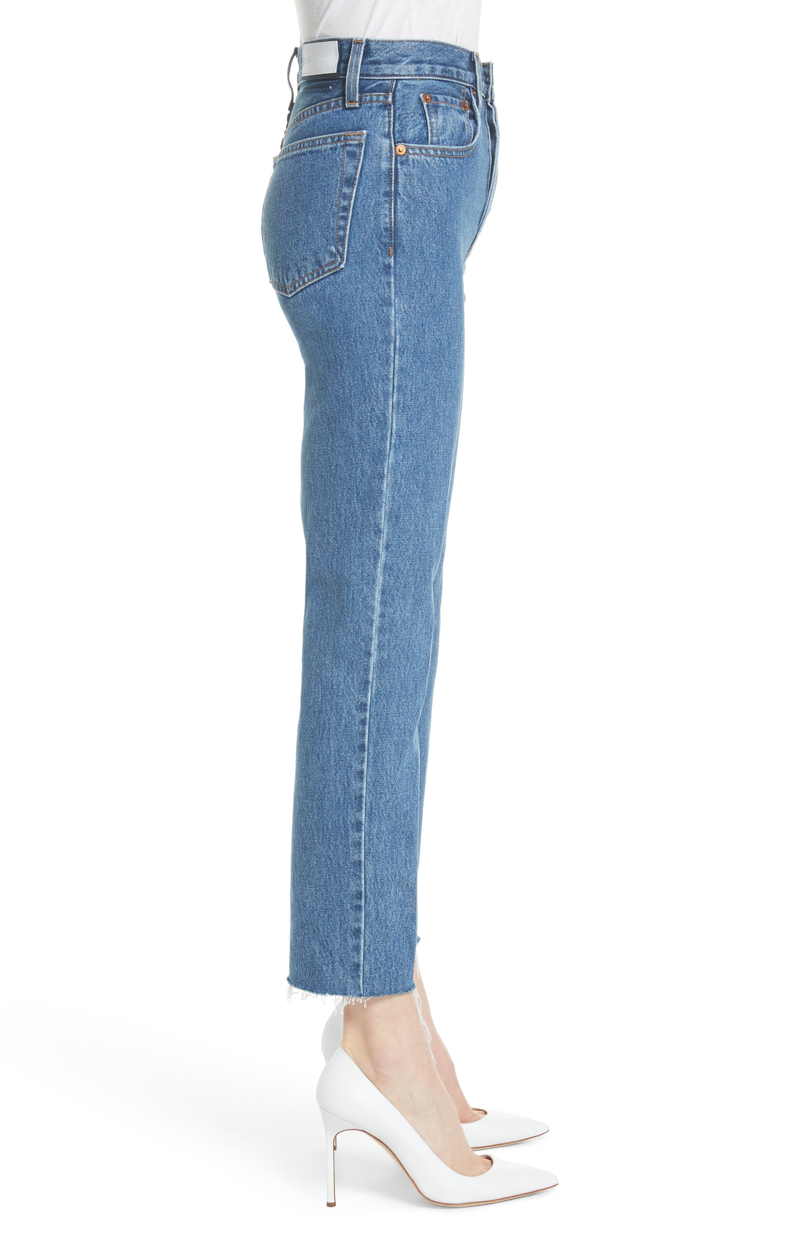 High Waist Stove Pipe Jeans,                             Alternate thumbnail 3, color,                             Med Vain