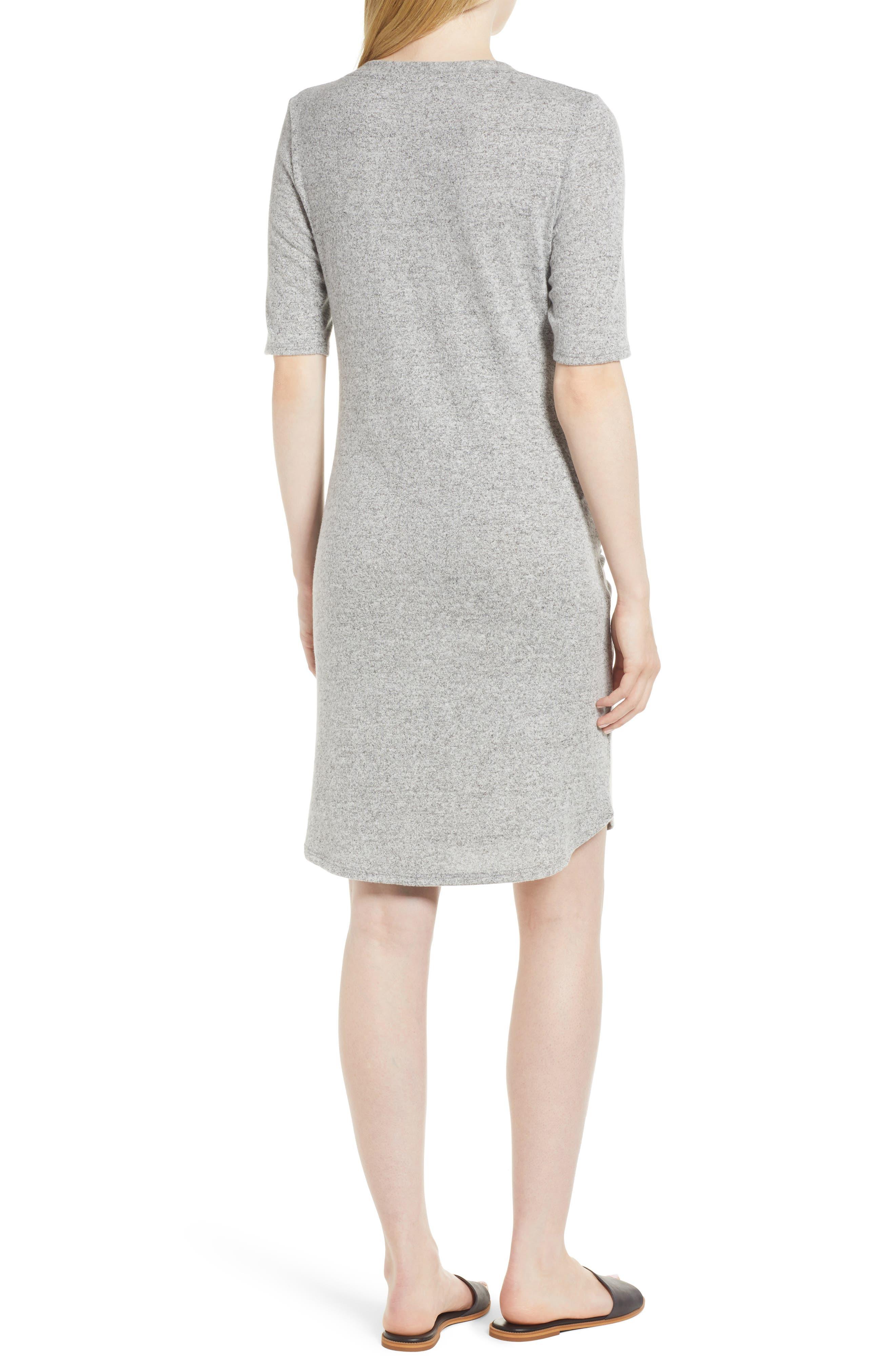 Caslon Off-Duty Tie Front Knit Dress,                             Alternate thumbnail 2, color,                             Grey Heather