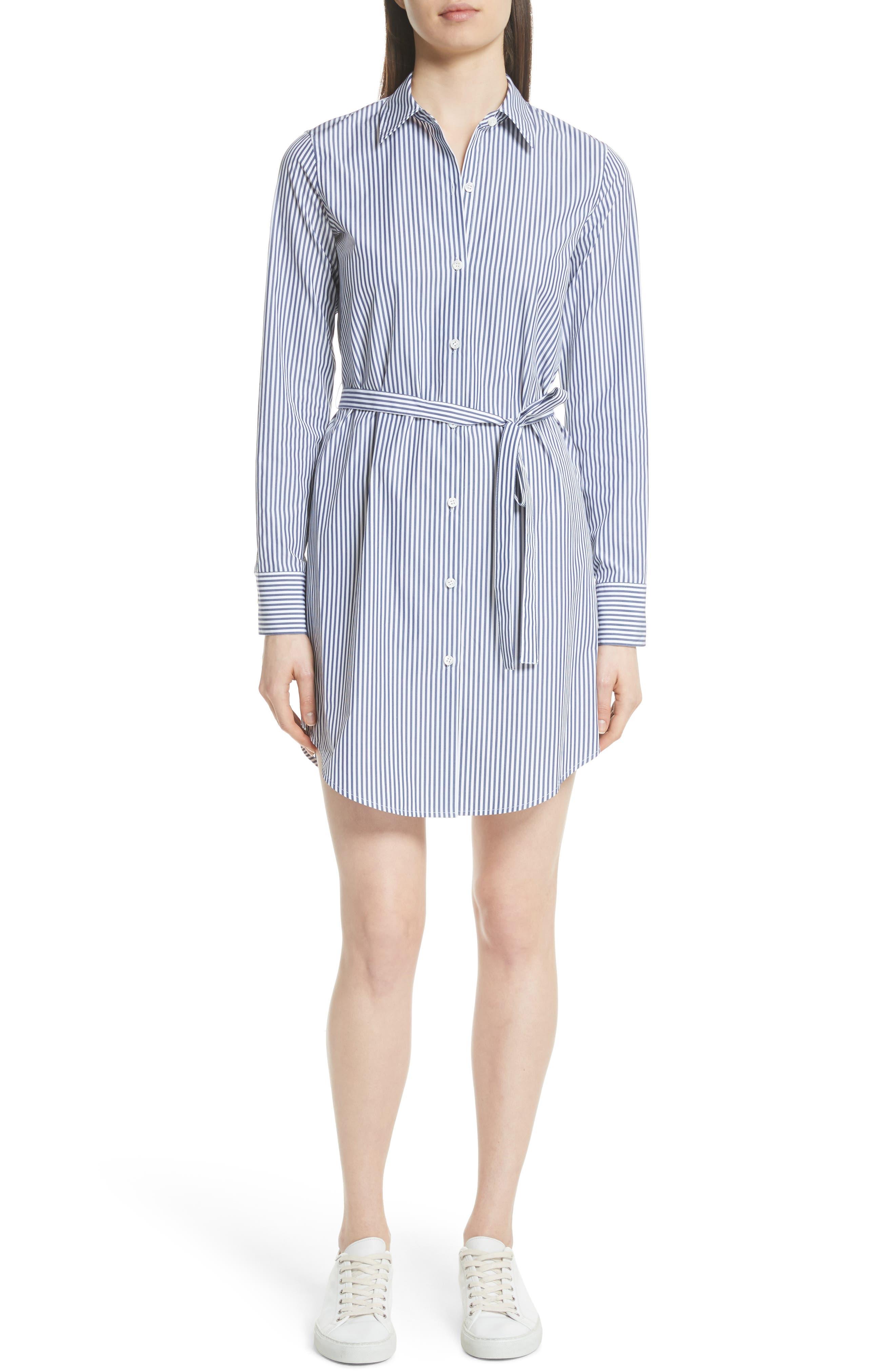 Clean Stripe Shirtdress,                             Main thumbnail 1, color,                             Blue/ White