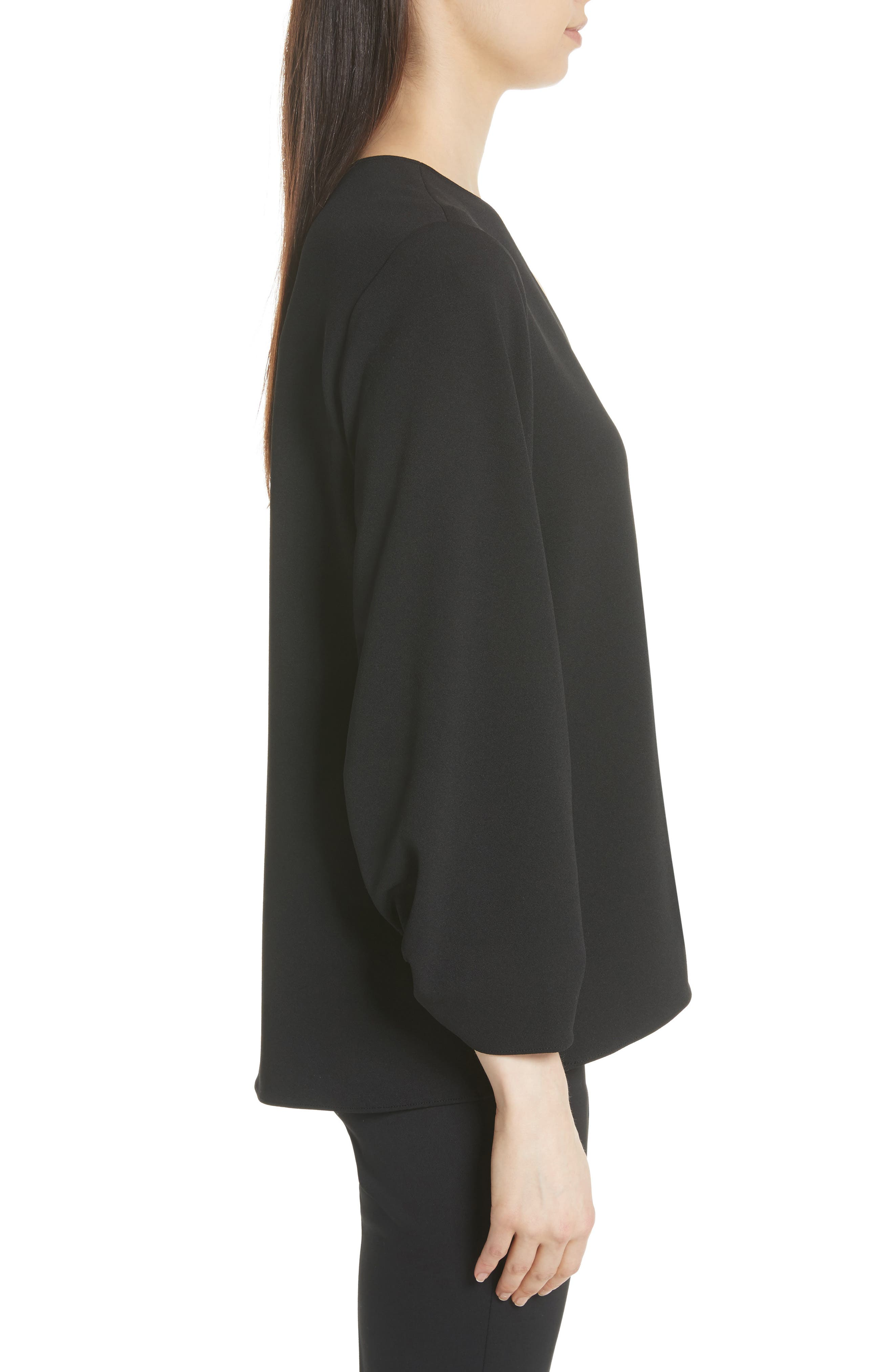 Ruched Sleeve Top,                             Alternate thumbnail 3, color,                             Black