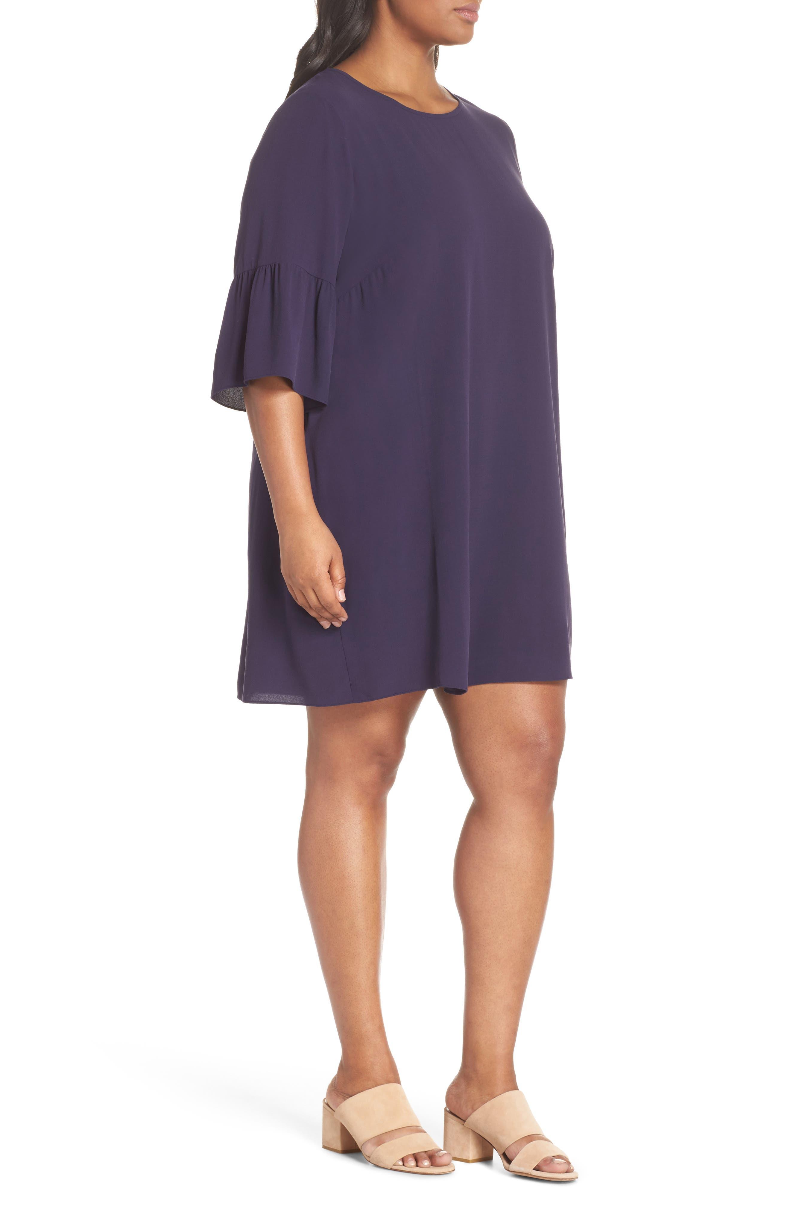 Flare Sleeve Silk Shift Dress,                             Alternate thumbnail 3, color,                             Salt Lake