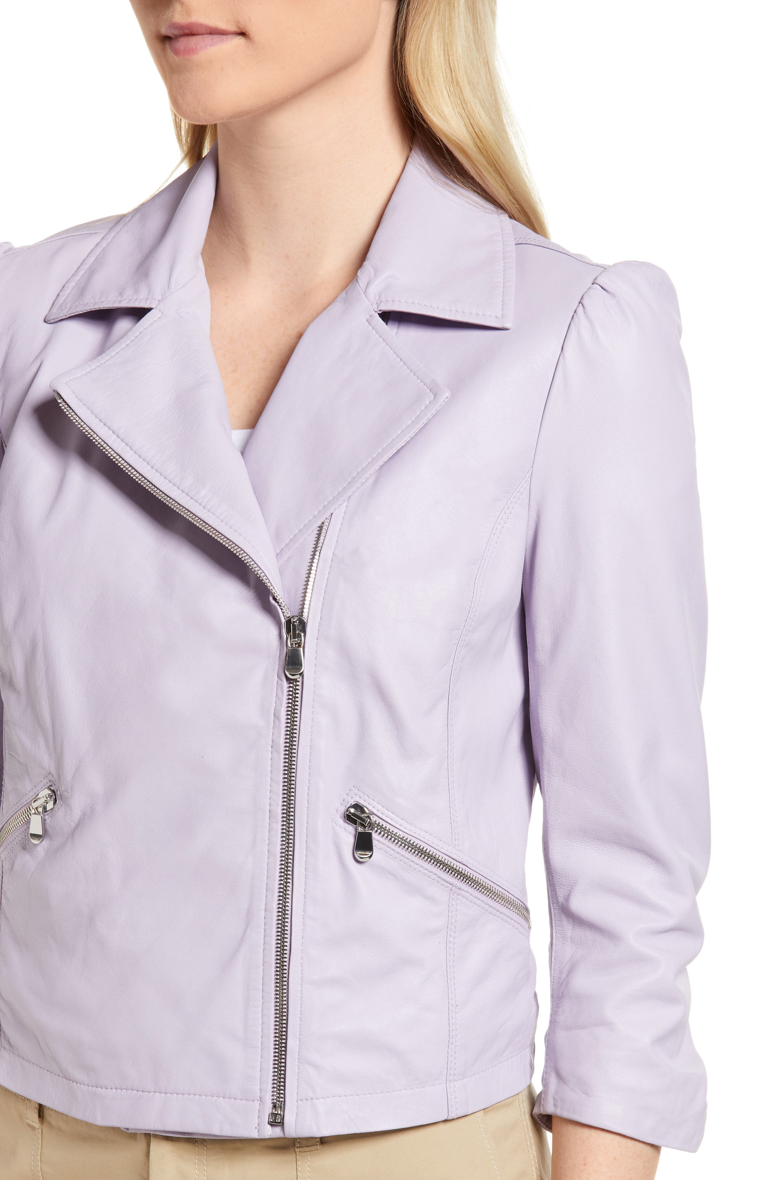 Crop Leather Moto Jacket,                             Alternate thumbnail 4, color,                             Purple Petal