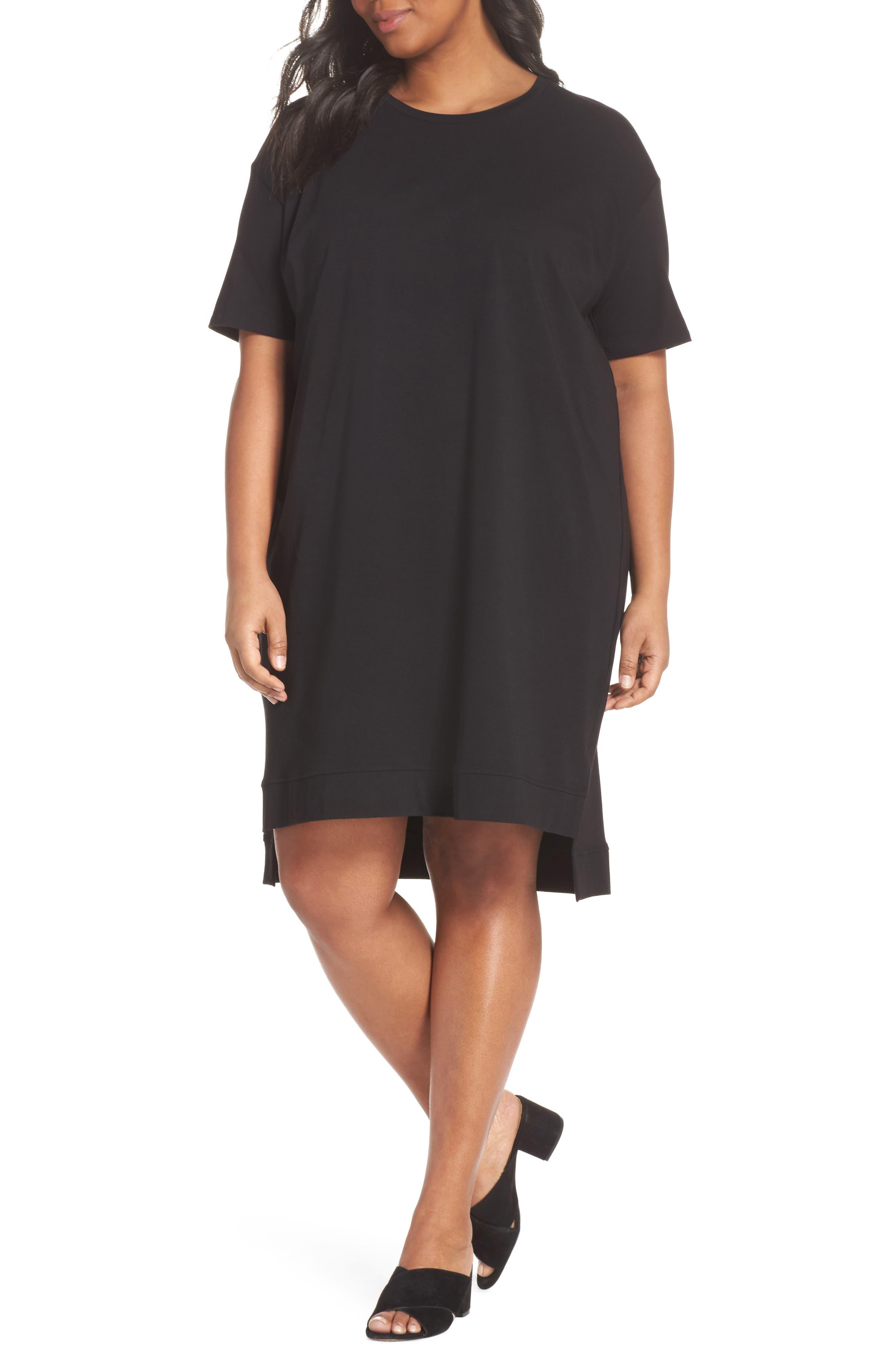 Knit Jersey Dress,                             Main thumbnail 1, color,                             Black