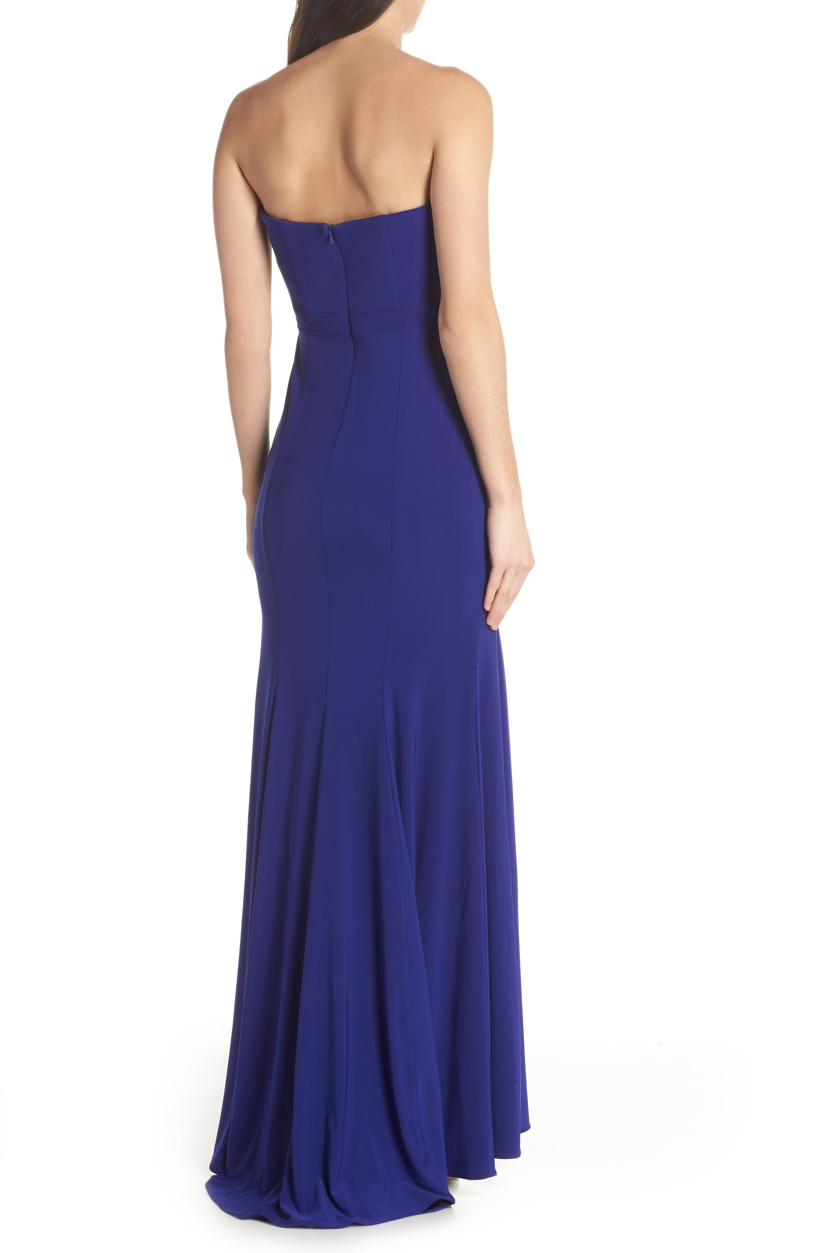 Bustier Strapless Gown,                             Alternate thumbnail 2, color,                             Electric Blue