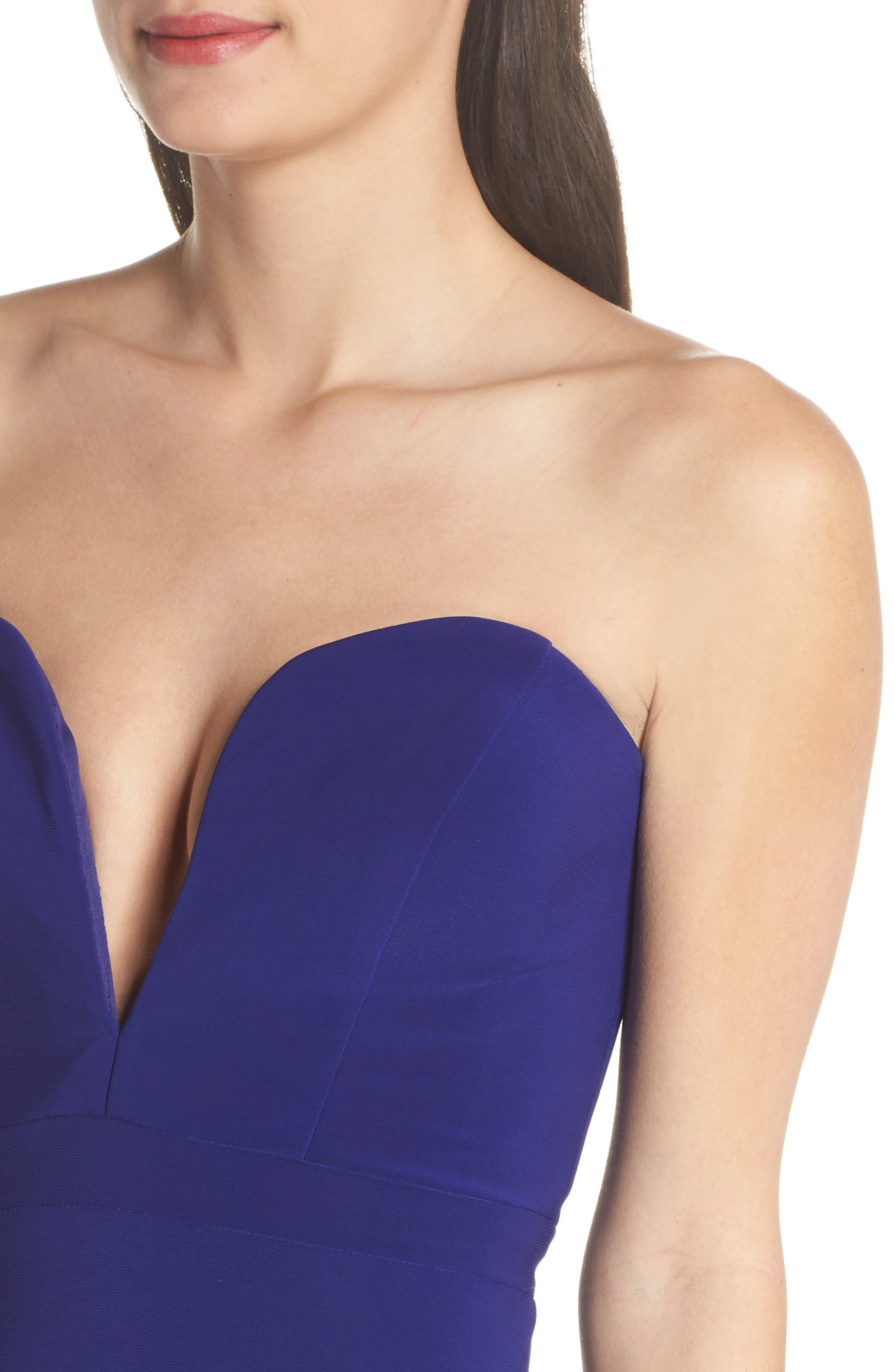 Bustier Strapless Gown,                             Alternate thumbnail 4, color,                             Electric Blue