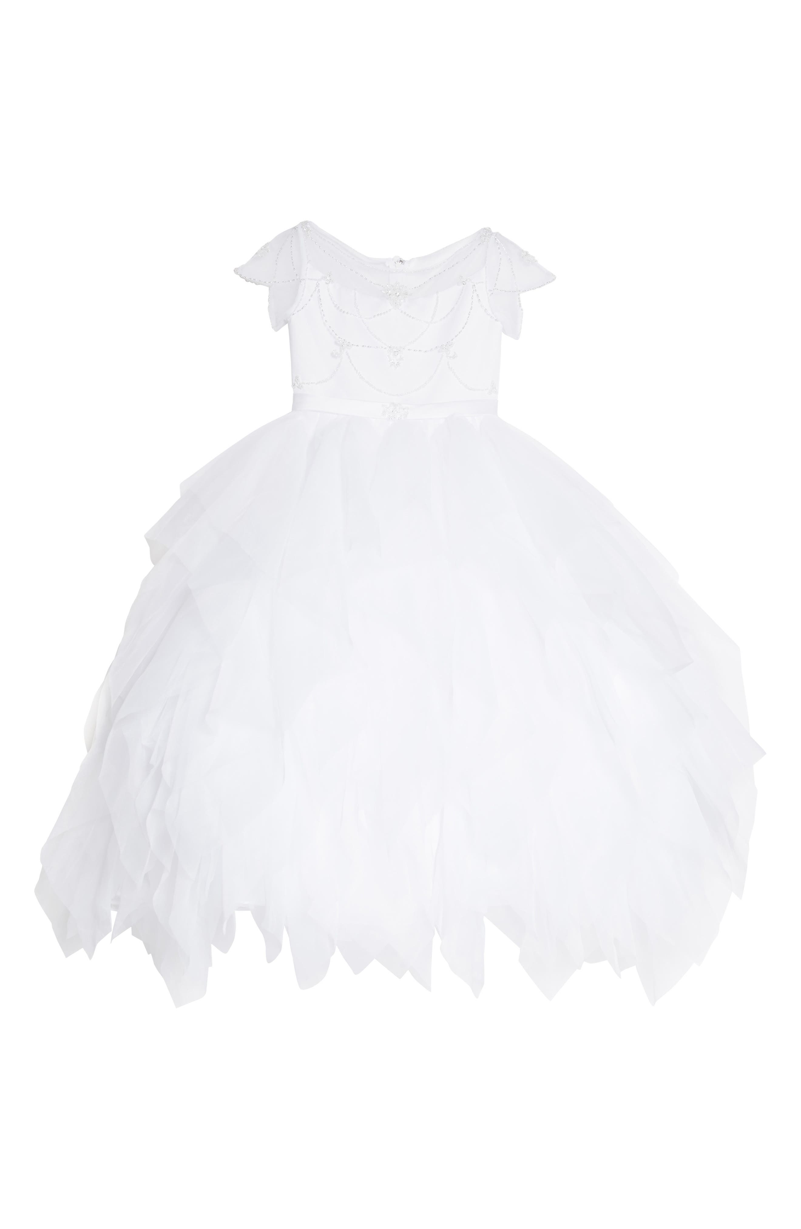 Beaded Organza & Tulle First Communion Dress,                         Main,                         color, White