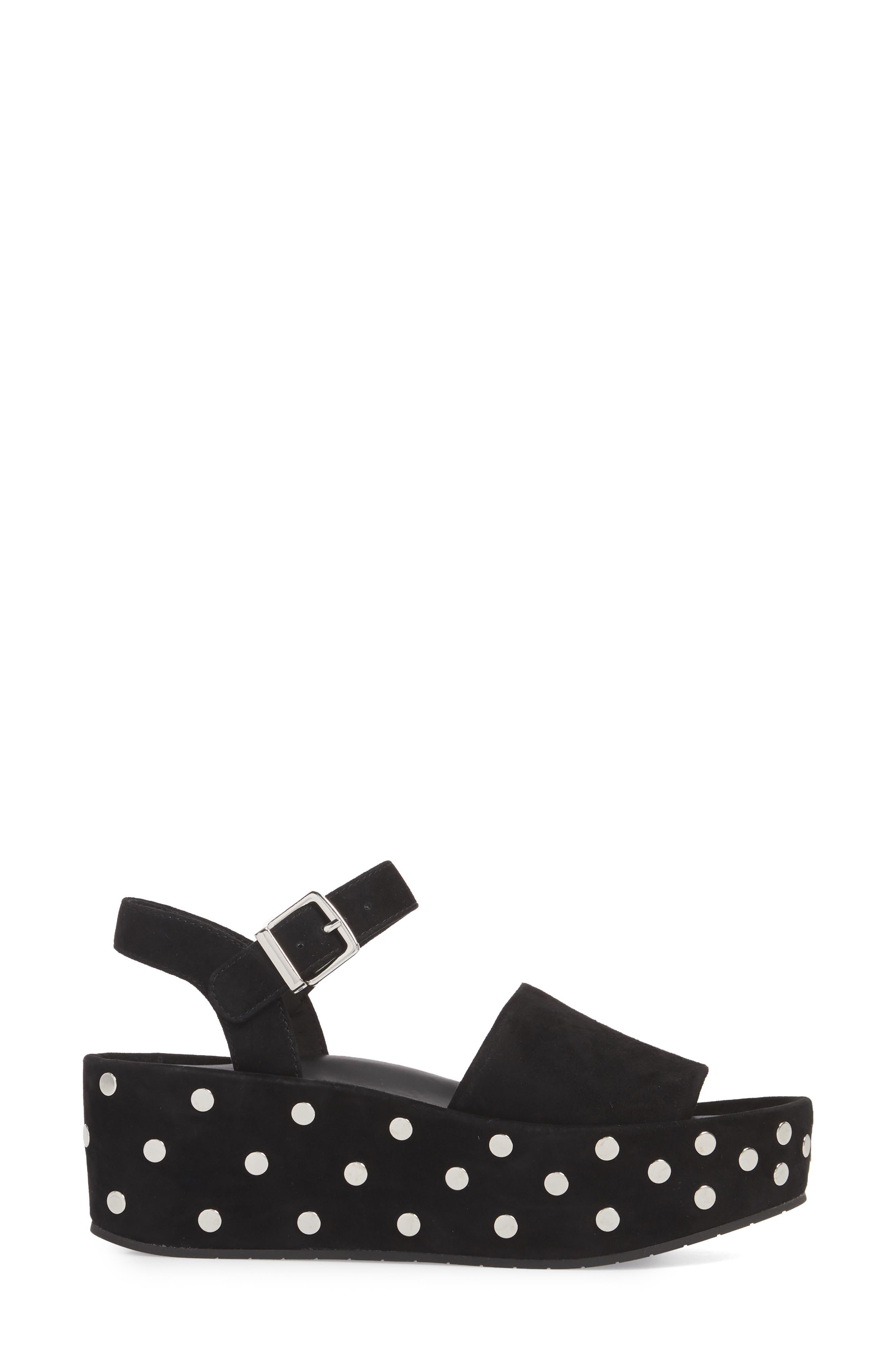 Danton Studs Platform Sandal,                             Alternate thumbnail 3, color,                             Black Suede