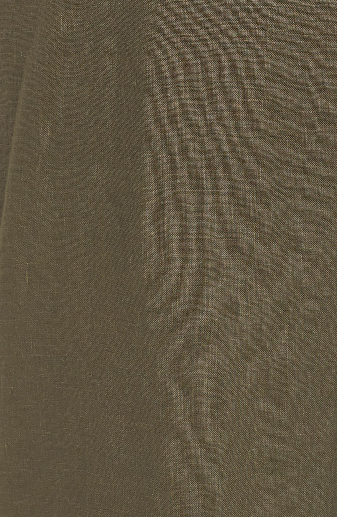 Wide Leg Crop Linen Pants,                             Alternate thumbnail 6, color,                             Olive Sarma
