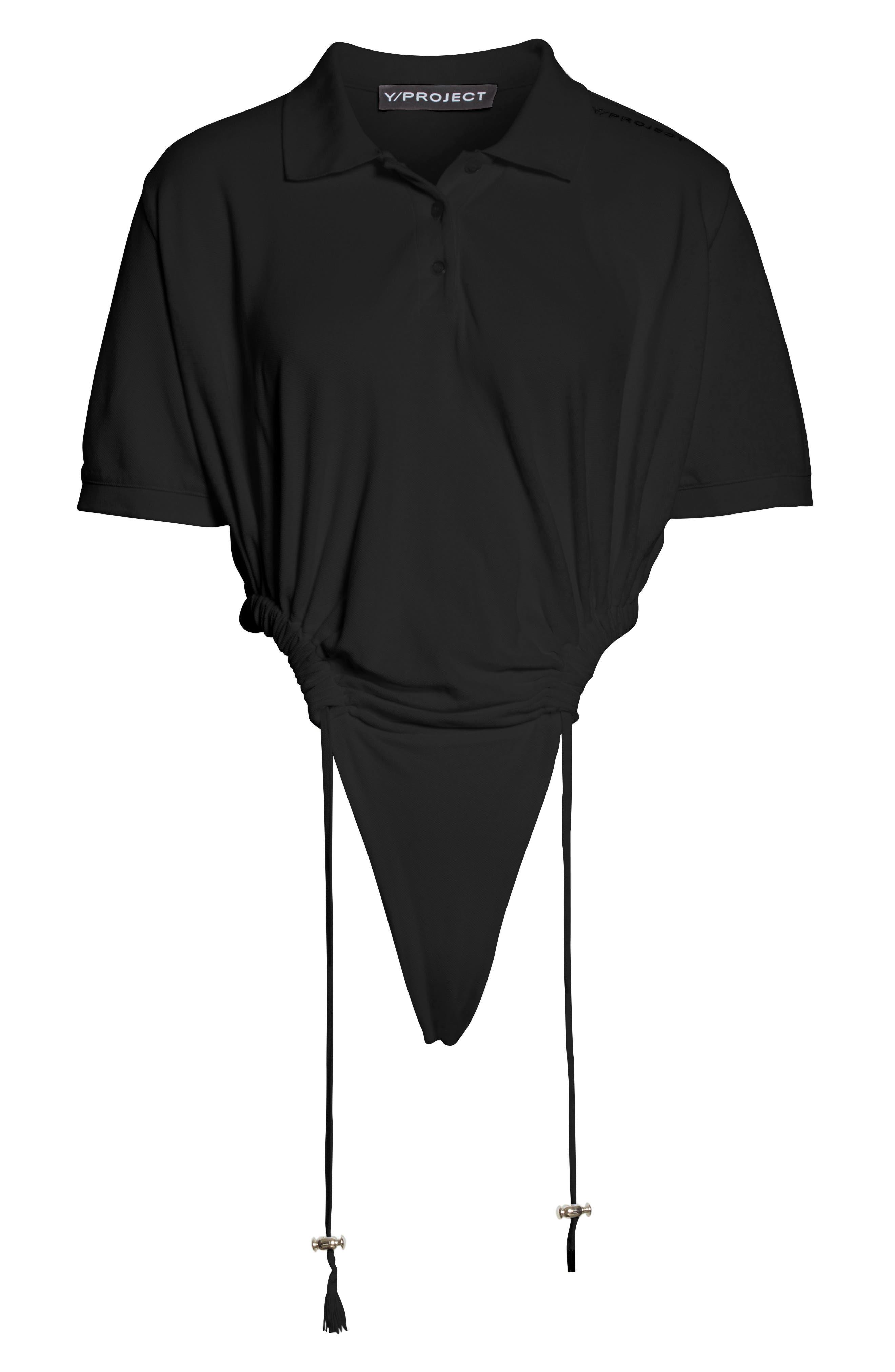 Polo Bodysuit,                             Alternate thumbnail 6, color,                             Noir
