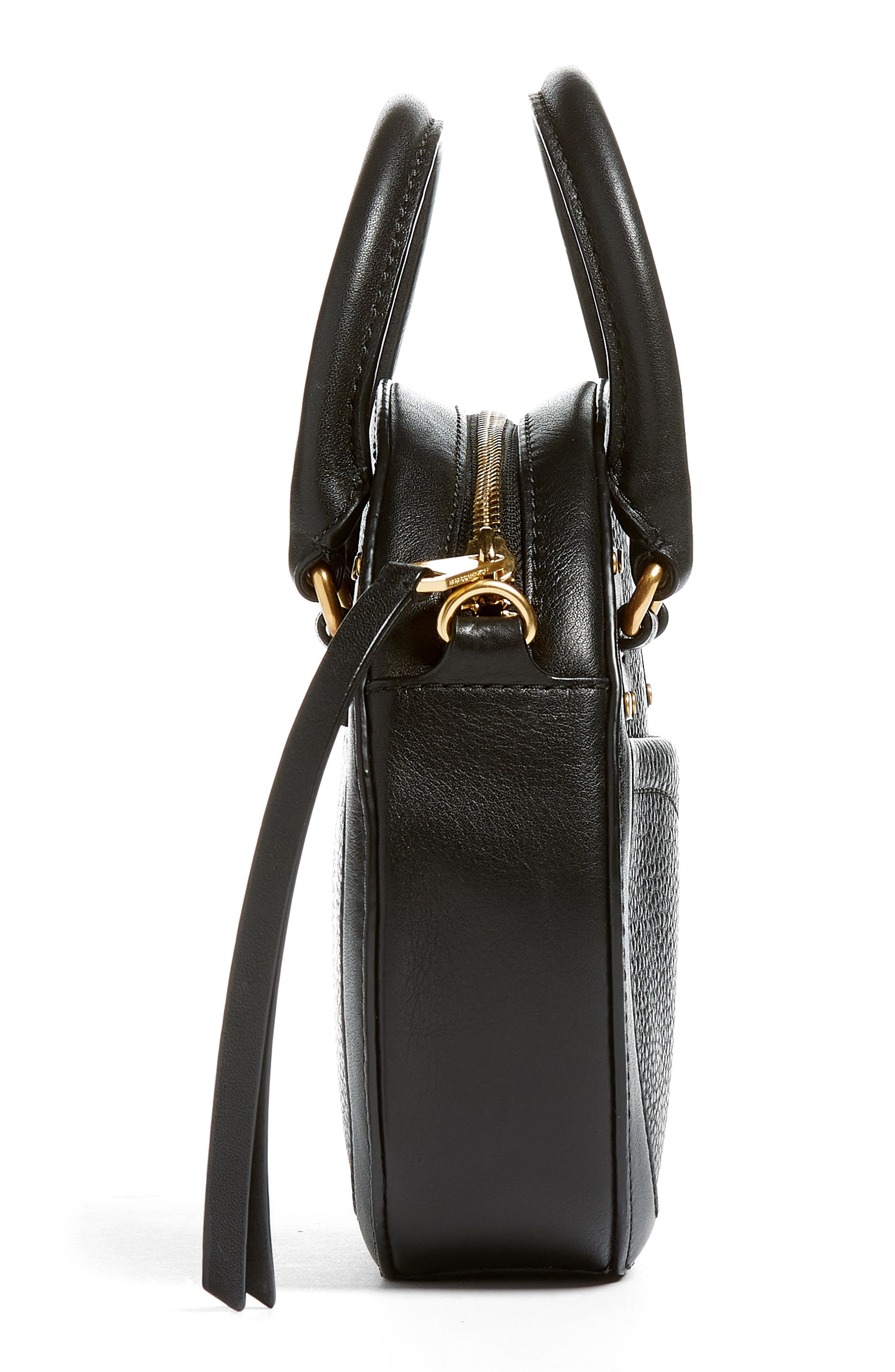 Bree Circle Leather Crossbody Bag,                             Alternate thumbnail 5, color,                             Black