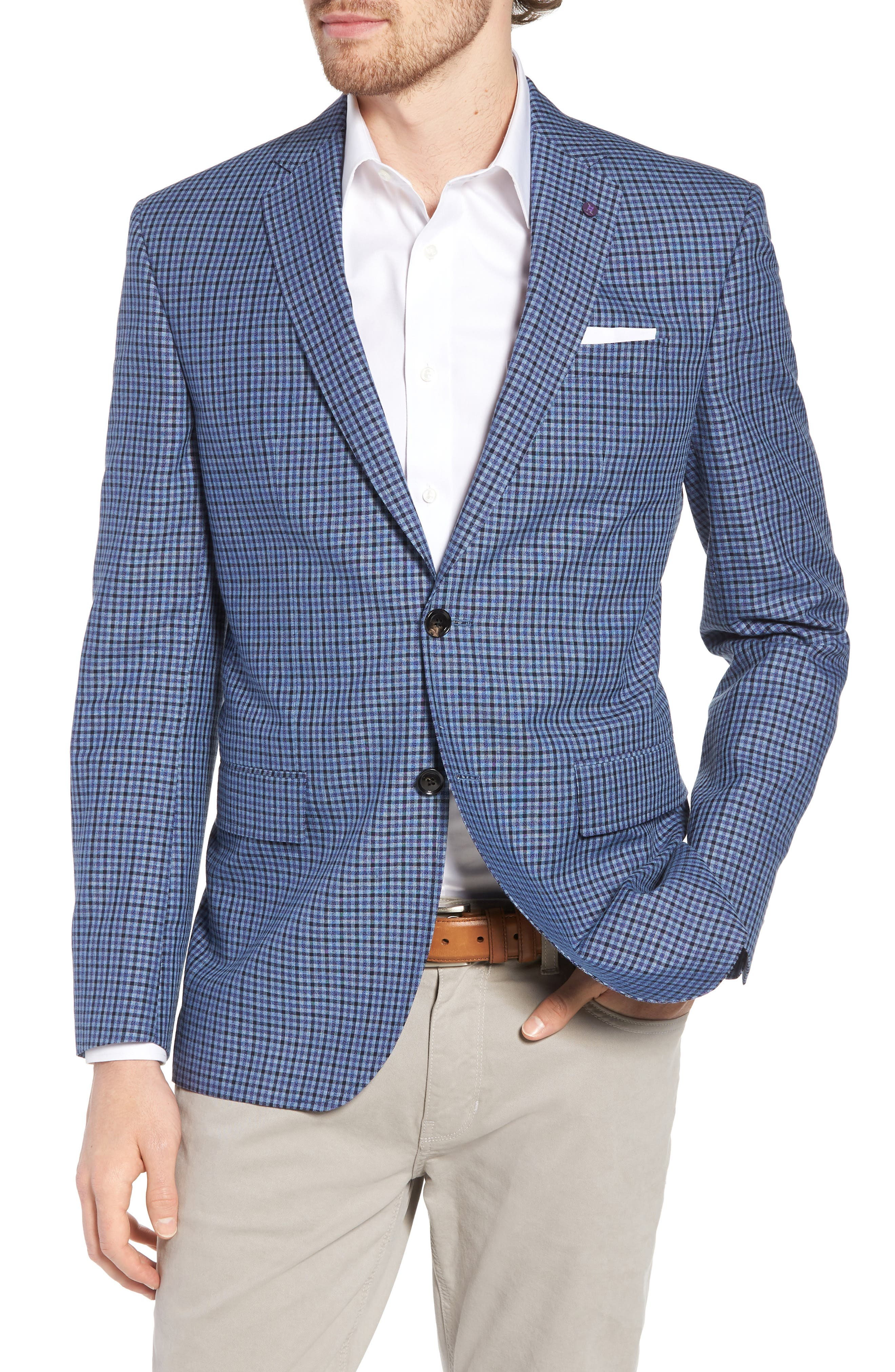 Jay Trim Fit Check Wool & Linen Sport Coat,                         Main,                         color, Blue
