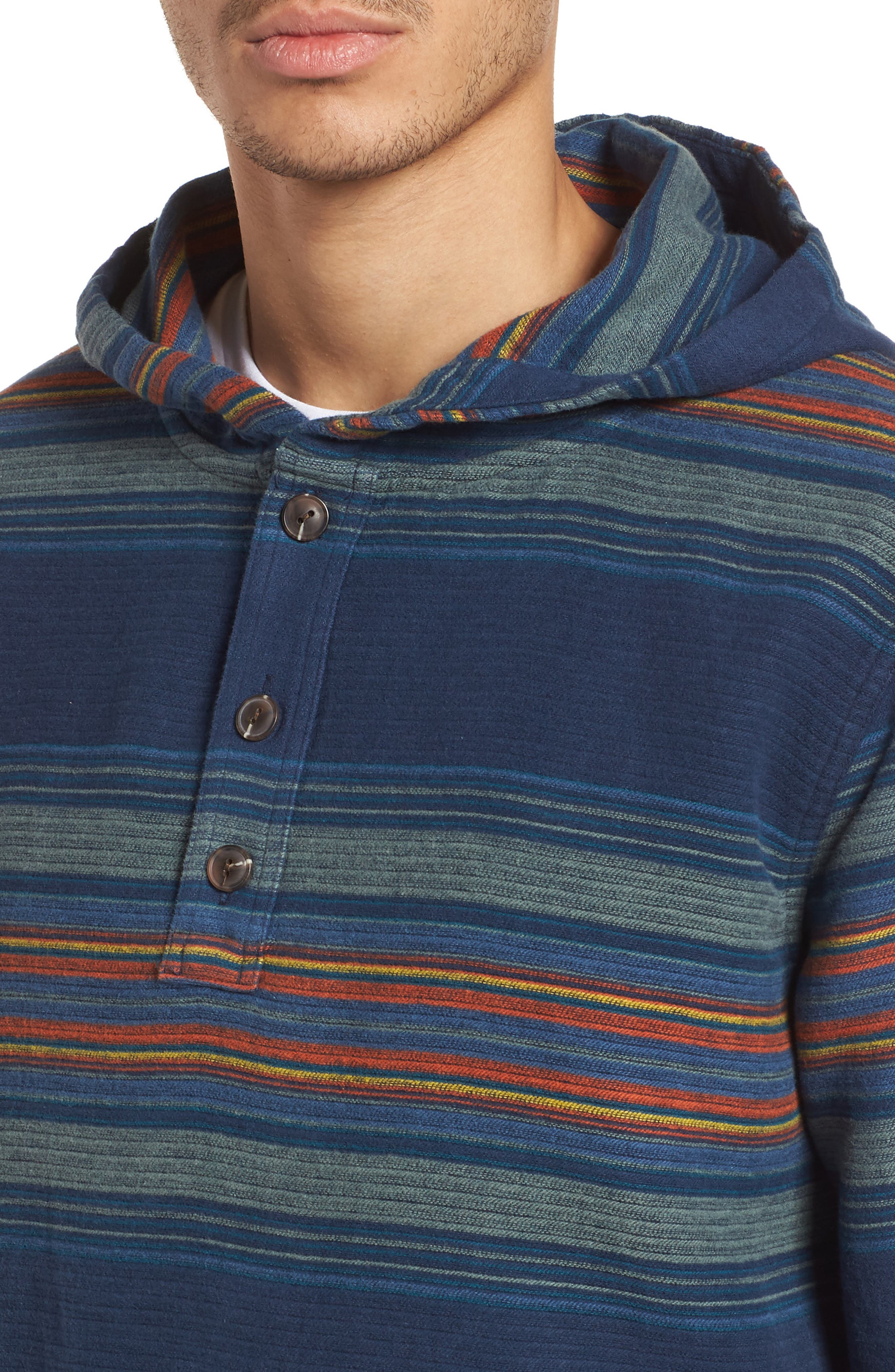 Serape Stripe Hoodie,                             Alternate thumbnail 4, color,                             Blue/ Green Stripe