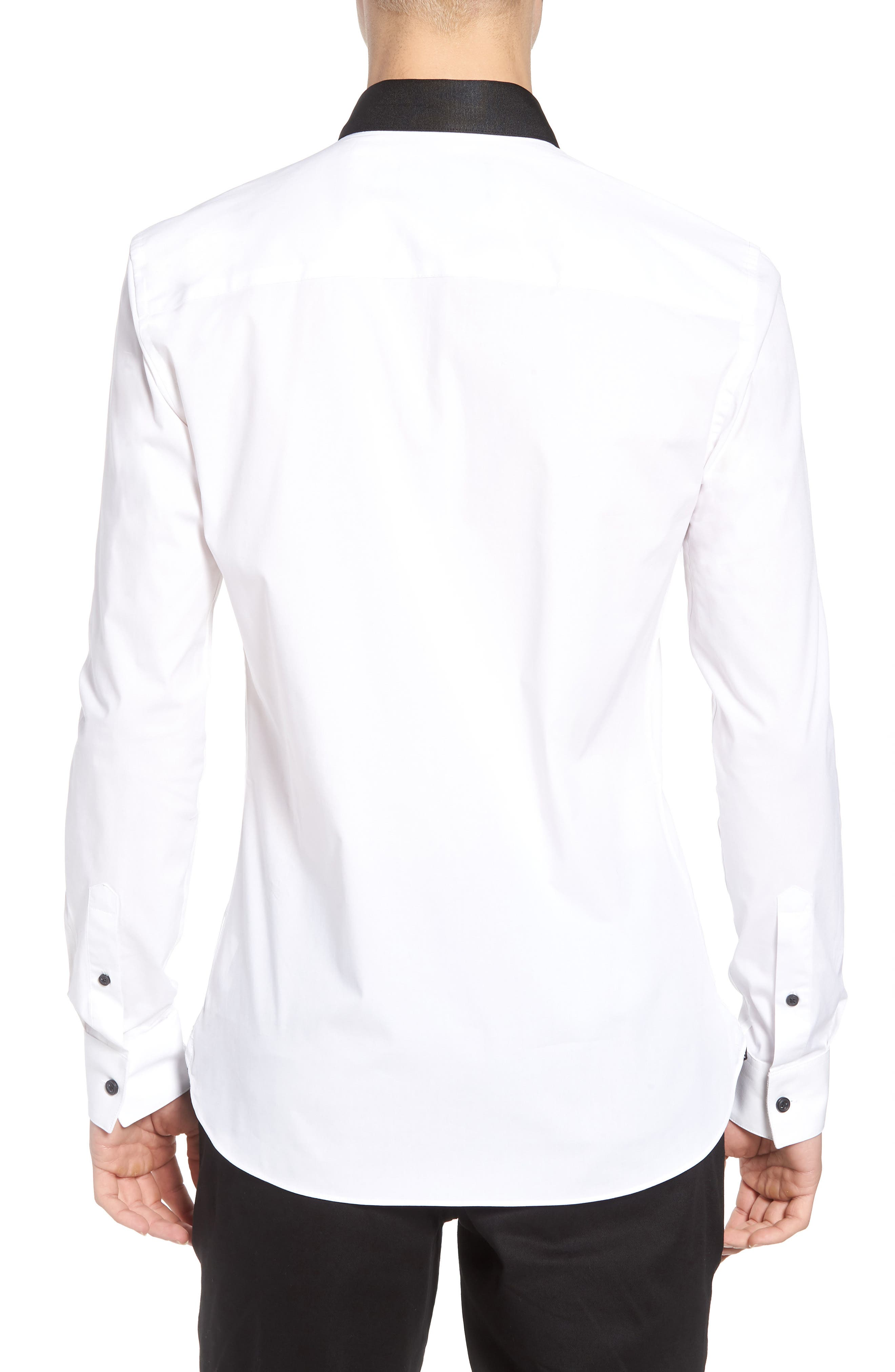 Muscle Fit Contrast Collar Sport Shirt,                             Alternate thumbnail 2, color,                             White Multi