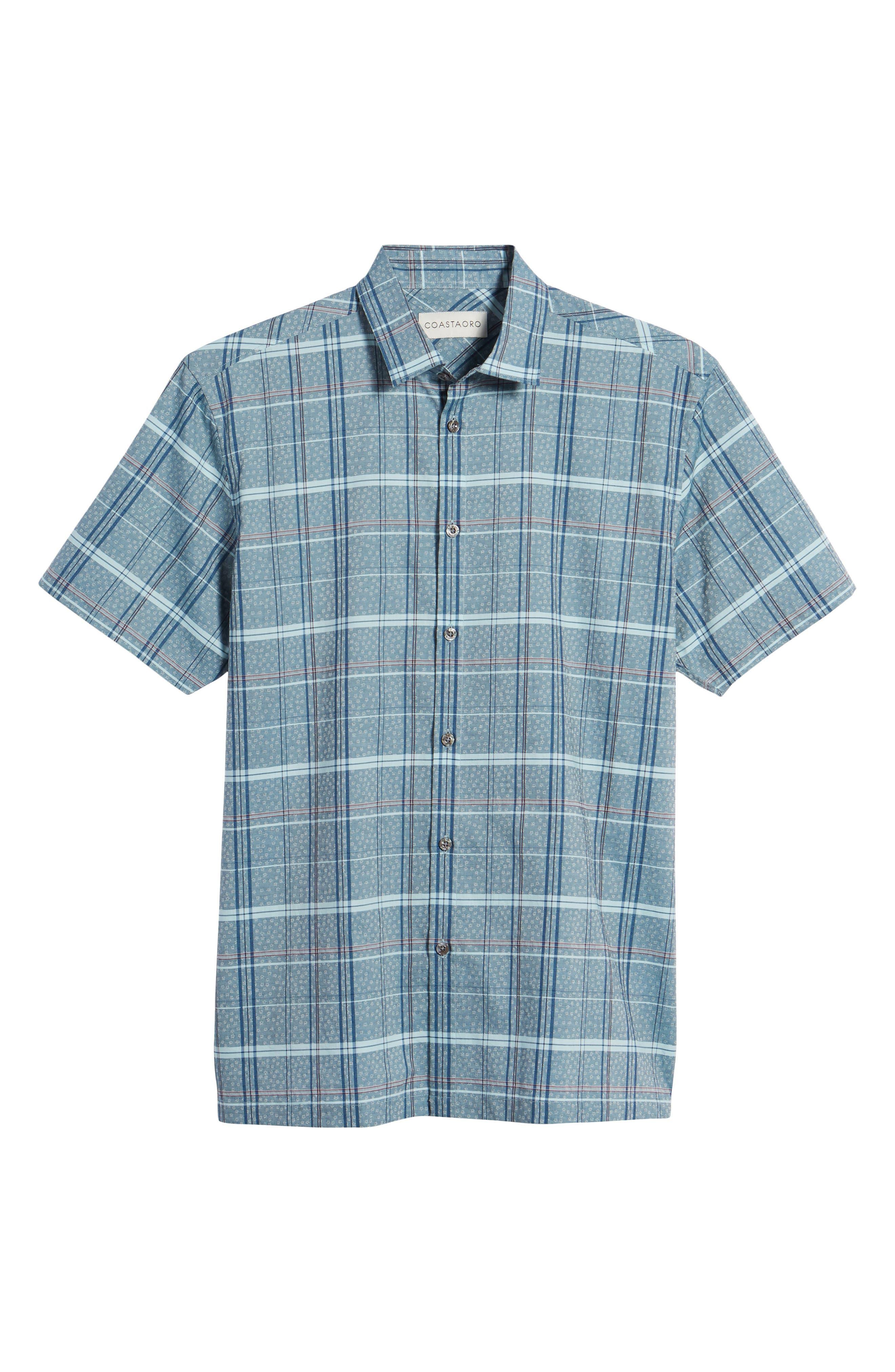 Vacaso Regular Fit Plaid Jacquard Sport Shirt,                             Alternate thumbnail 6, color,                             Water