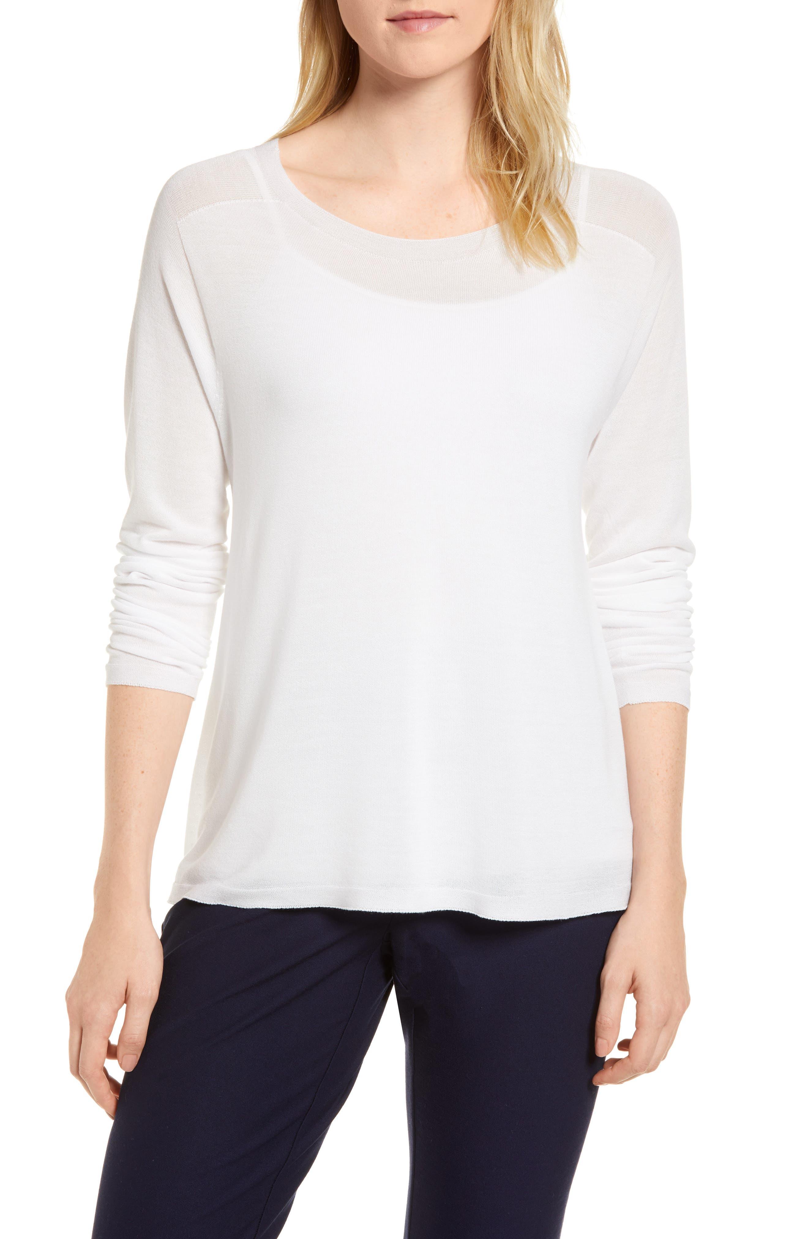 Eileen Fisher Tencel® Lyocell Knit Sweater (Regular & Petite)