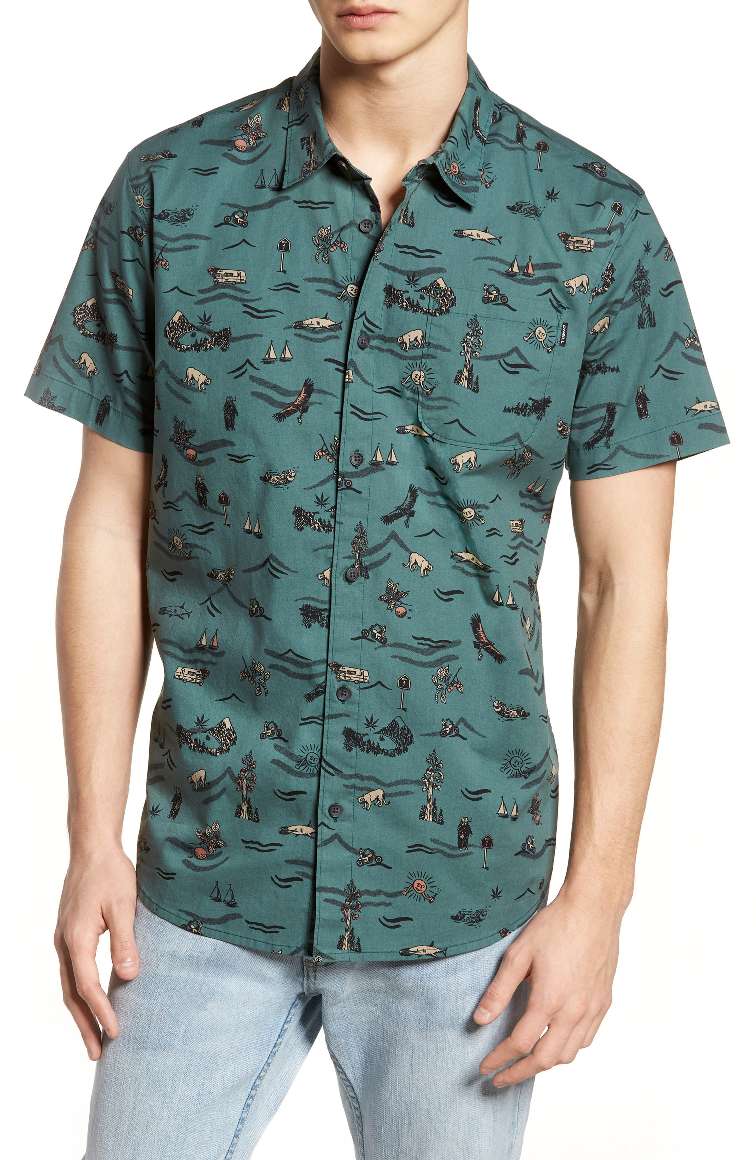 Squawk Short Sleeve Shirt,                         Main,                         color, Pine