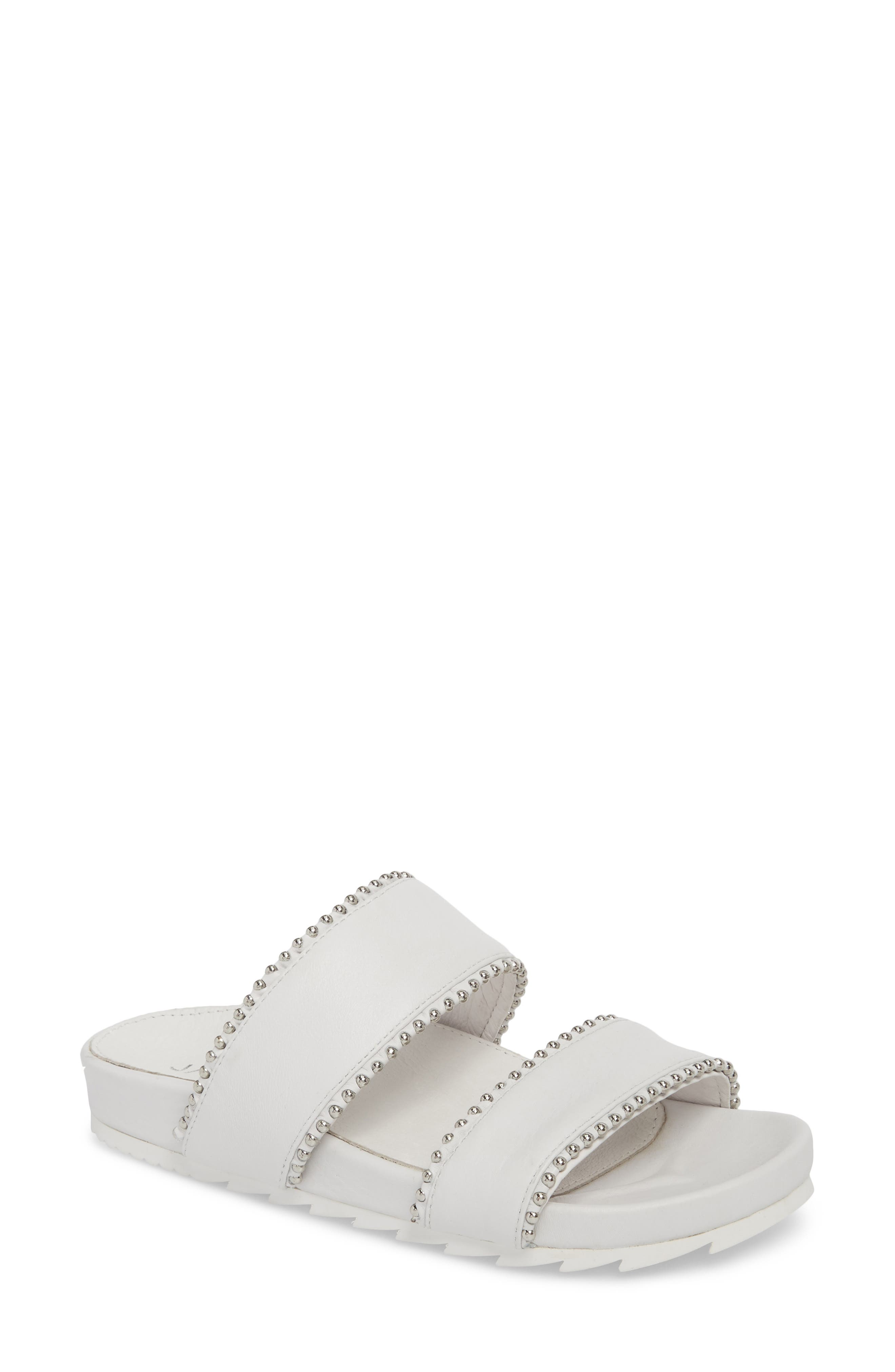 Emmie Bead Chain Slide Sandal,                         Main,                         color, White Leather