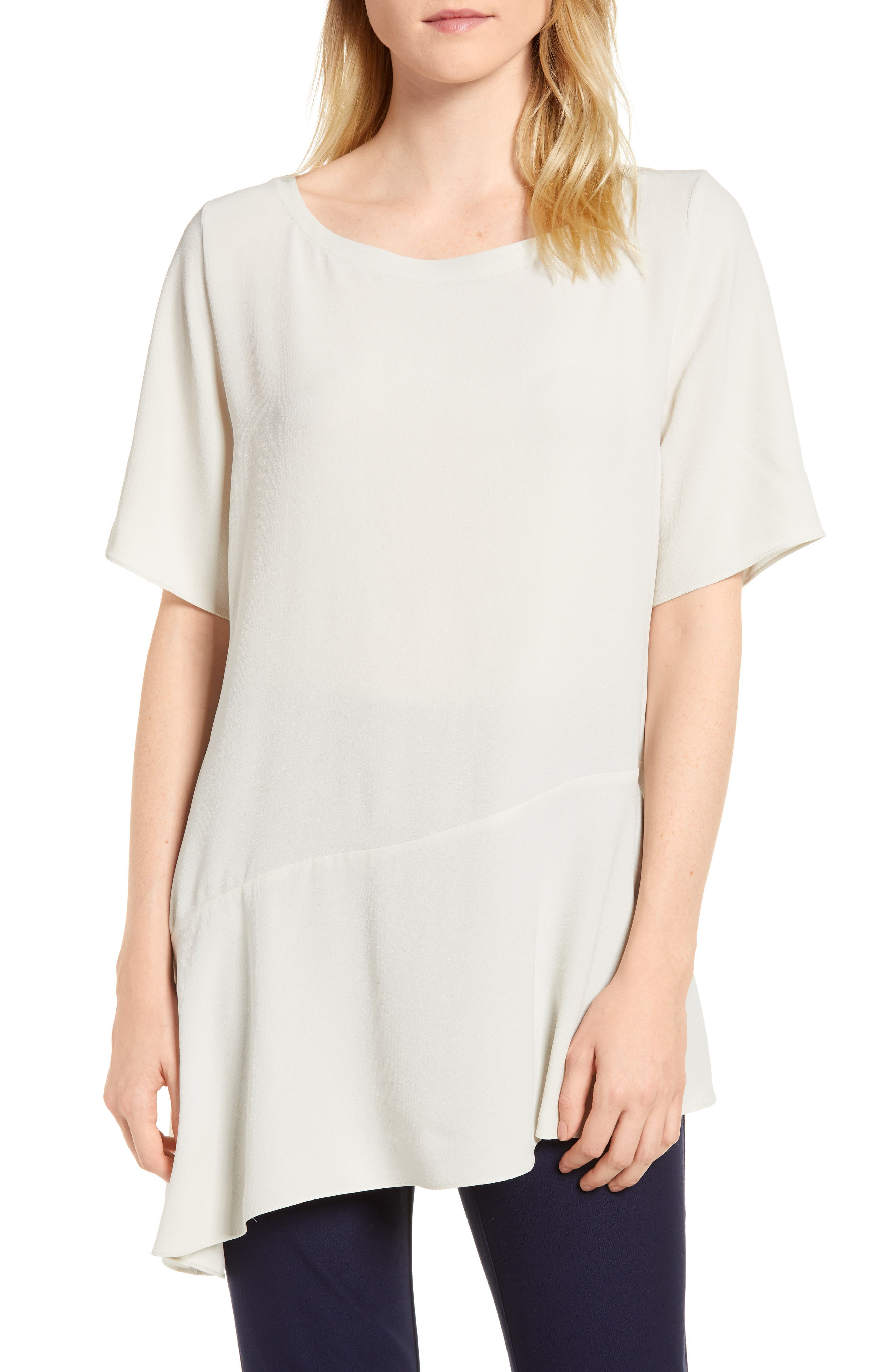 Alternate Image 1 Selected - Eileen Fisher Asymmetrical Silk Top
